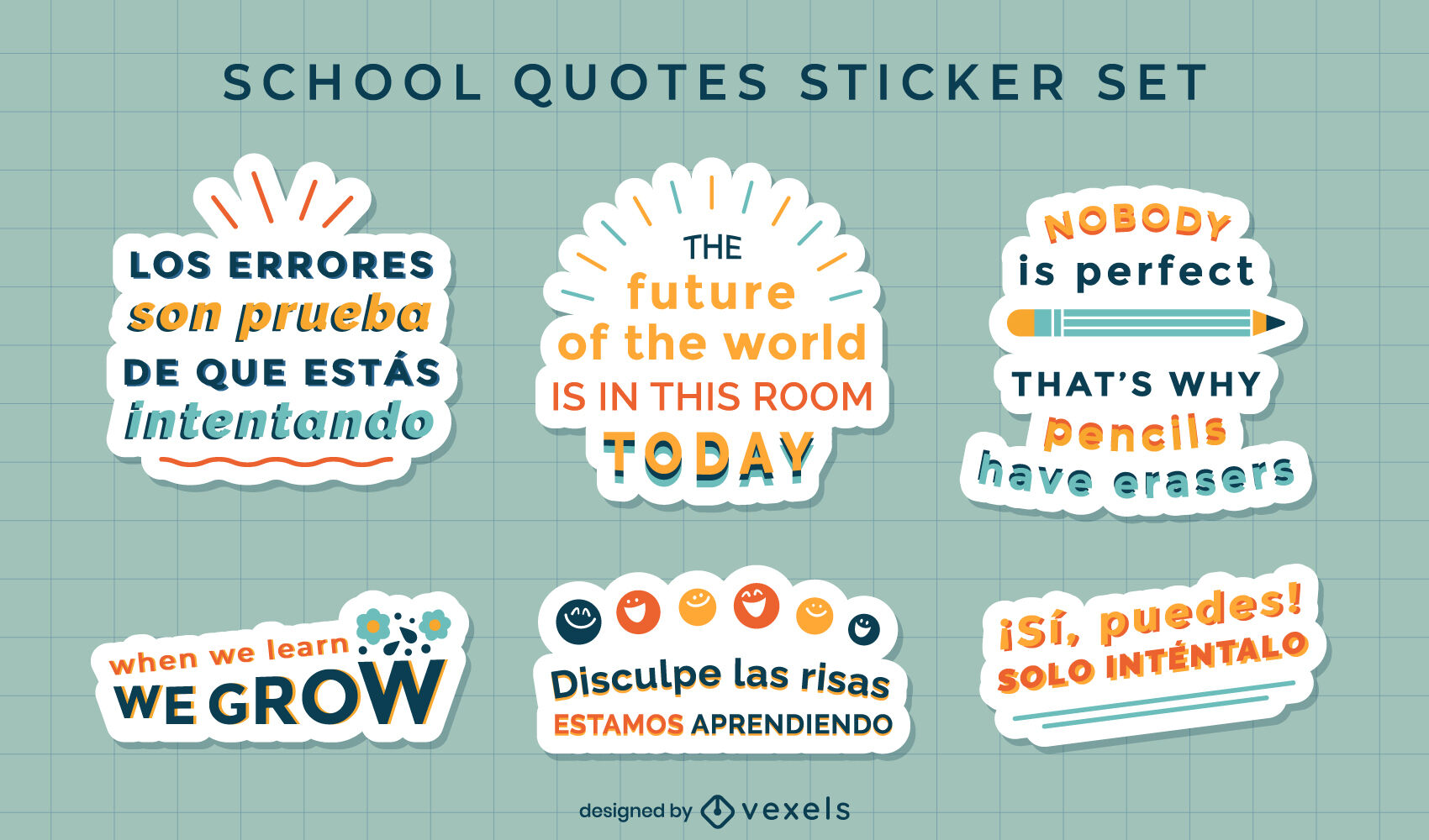 School motivational quotes set of stickers