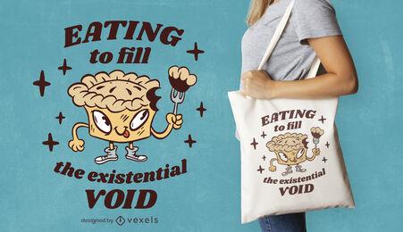 Cartoon pie funny quote tote bag design