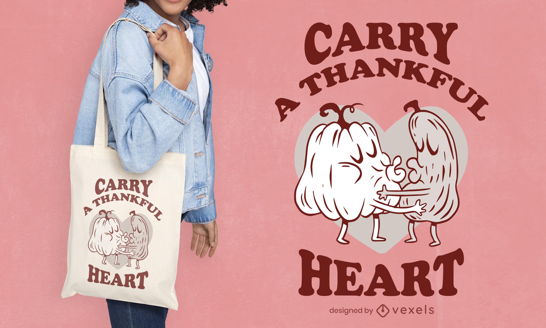 Diseño de bolso de mano con beso de vegetales de calabaza