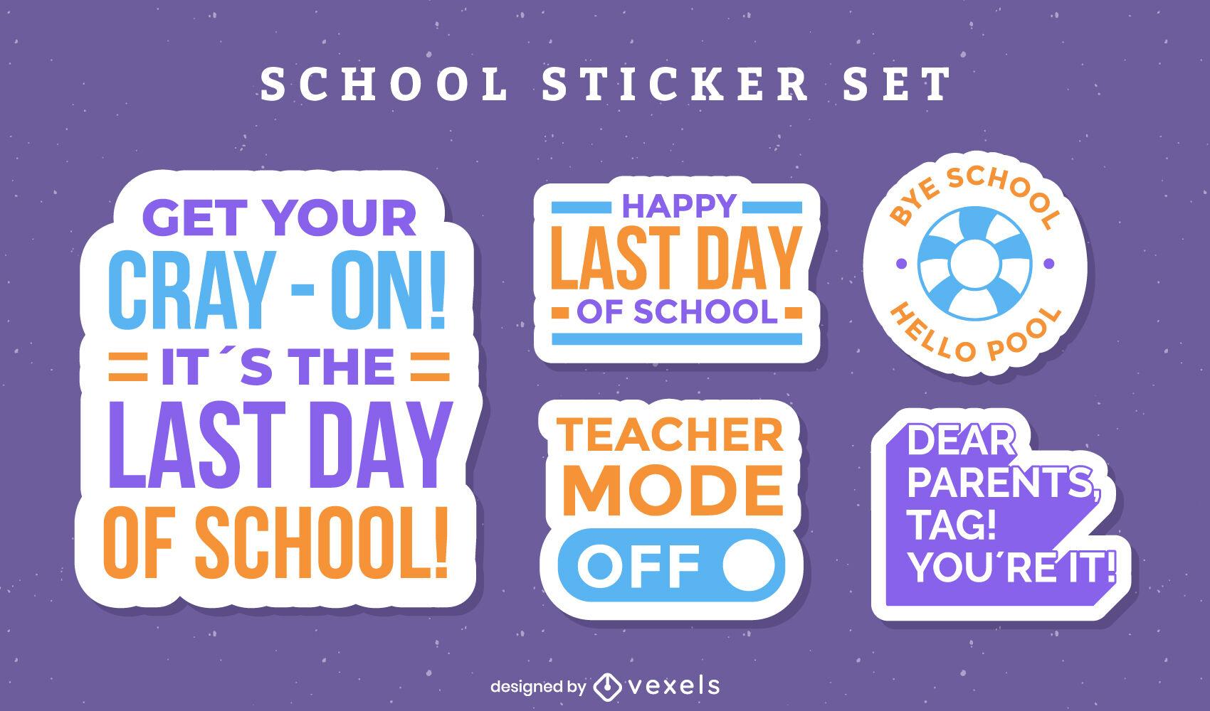 Conjunto de insignias de cita divertida del último día escolar