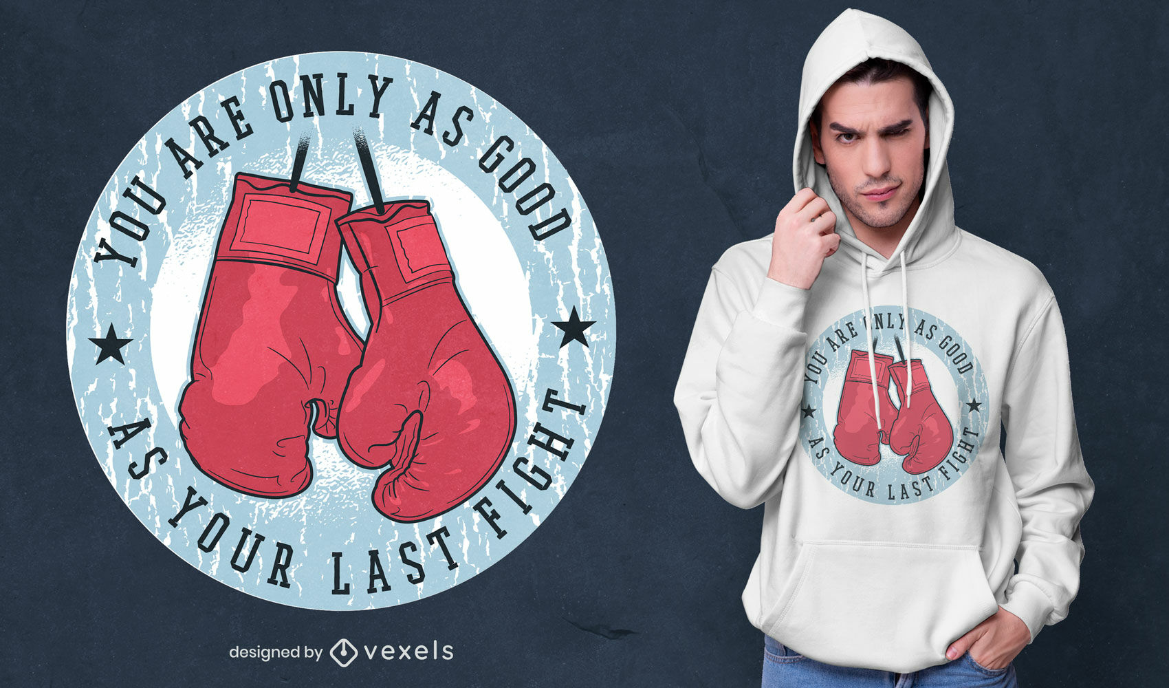 Boxing gloves fight quote t-shirt design