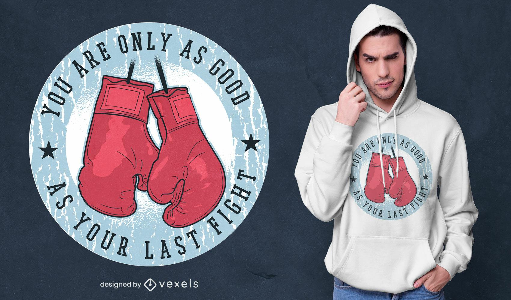 Diseño de camiseta con cita de lucha de guantes de boxeo