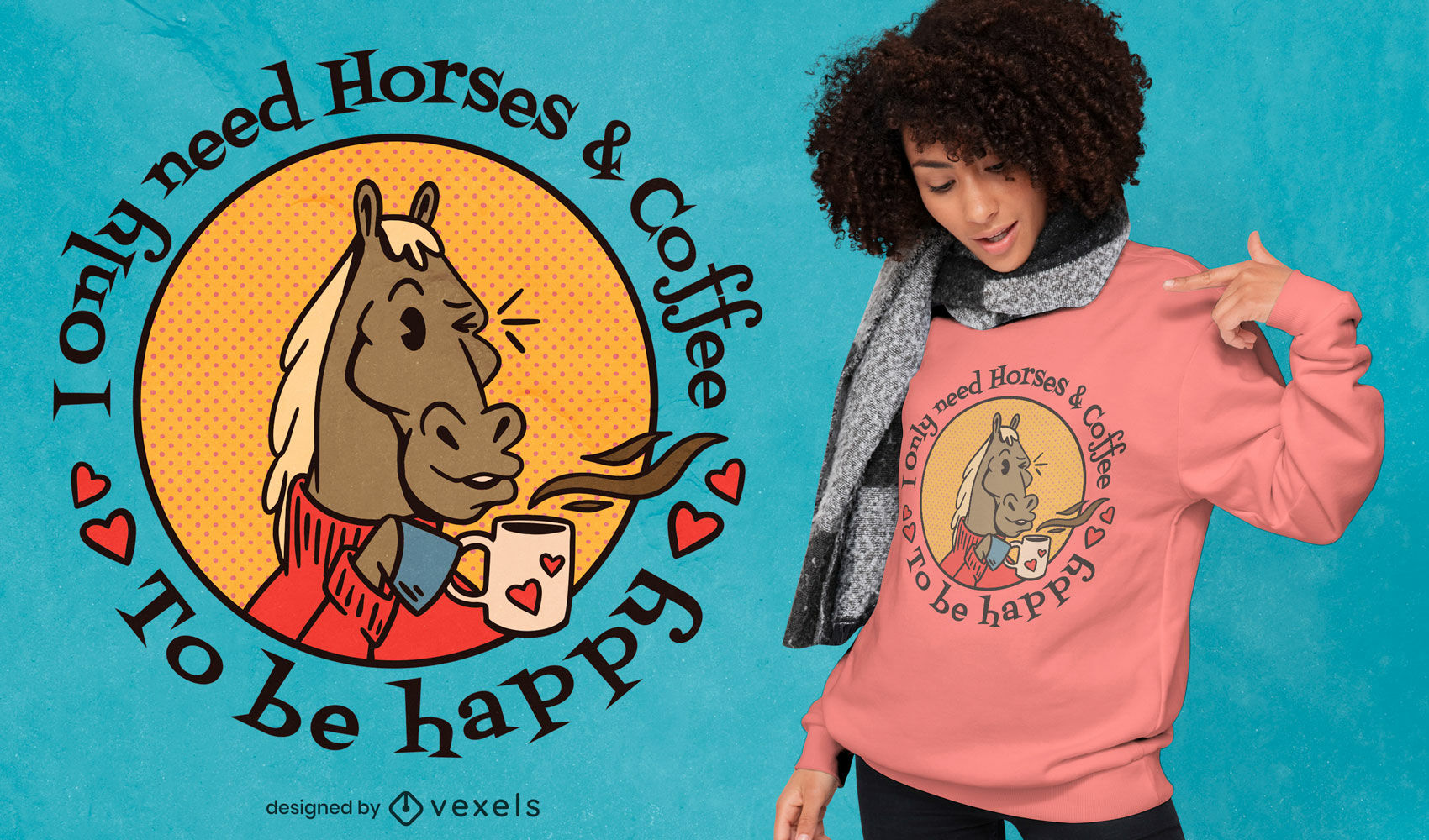Horses and coffee love t-shirt design
