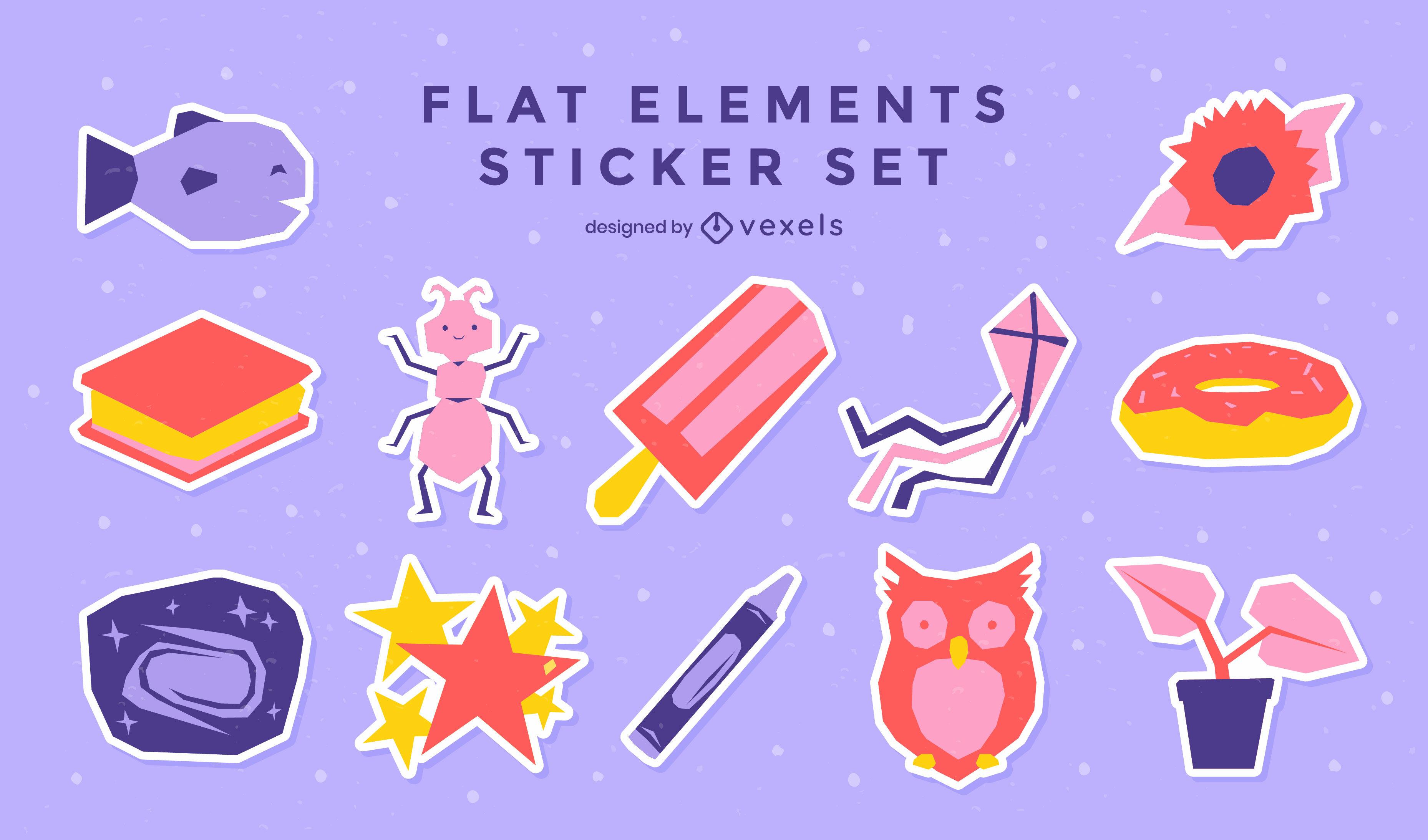 Conjunto de elementos de pegatina de escuela plana y niños.