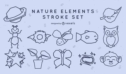 Lindo conjunto de elementos de trazo de la naturaleza
