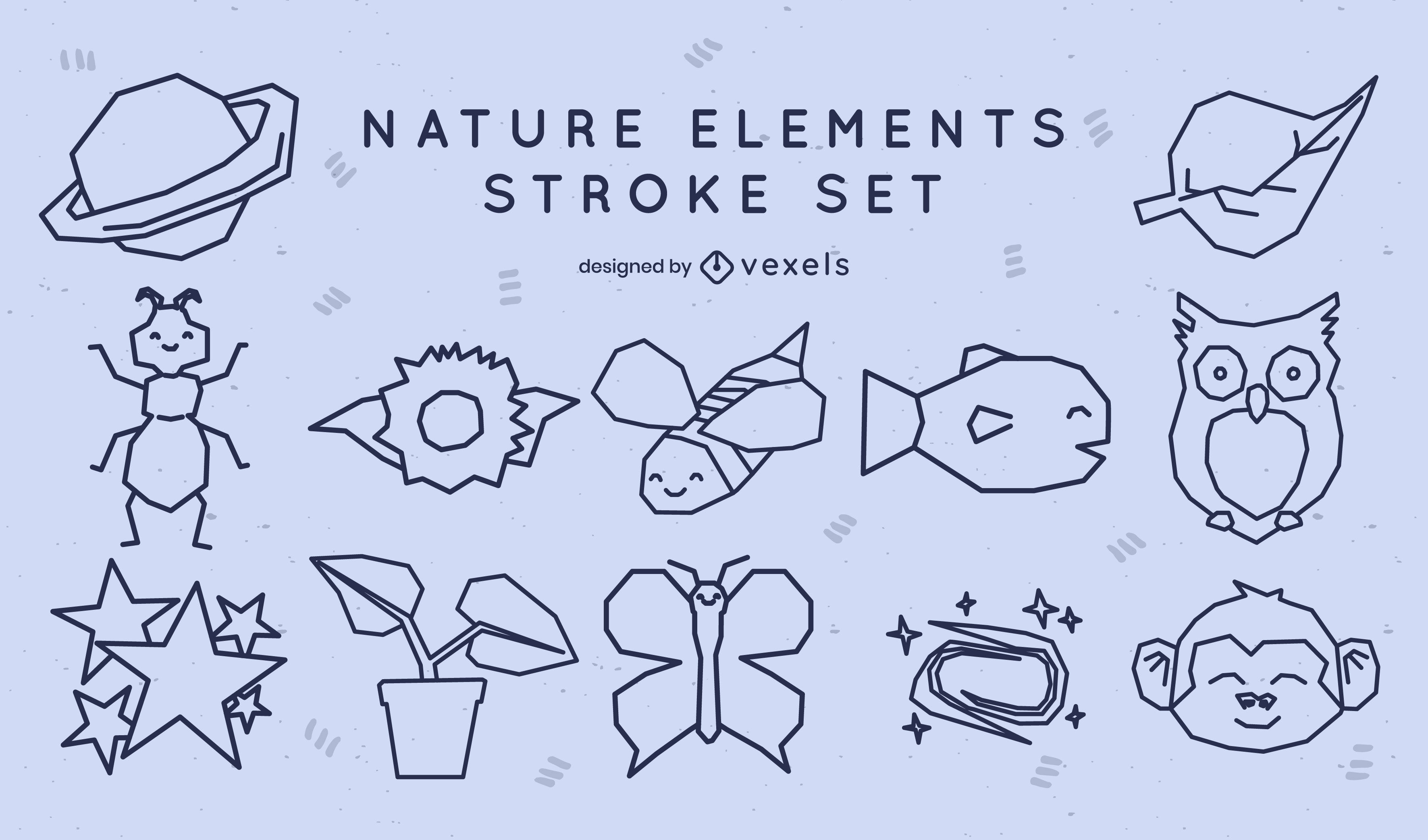 Cute set of nature stroke elements