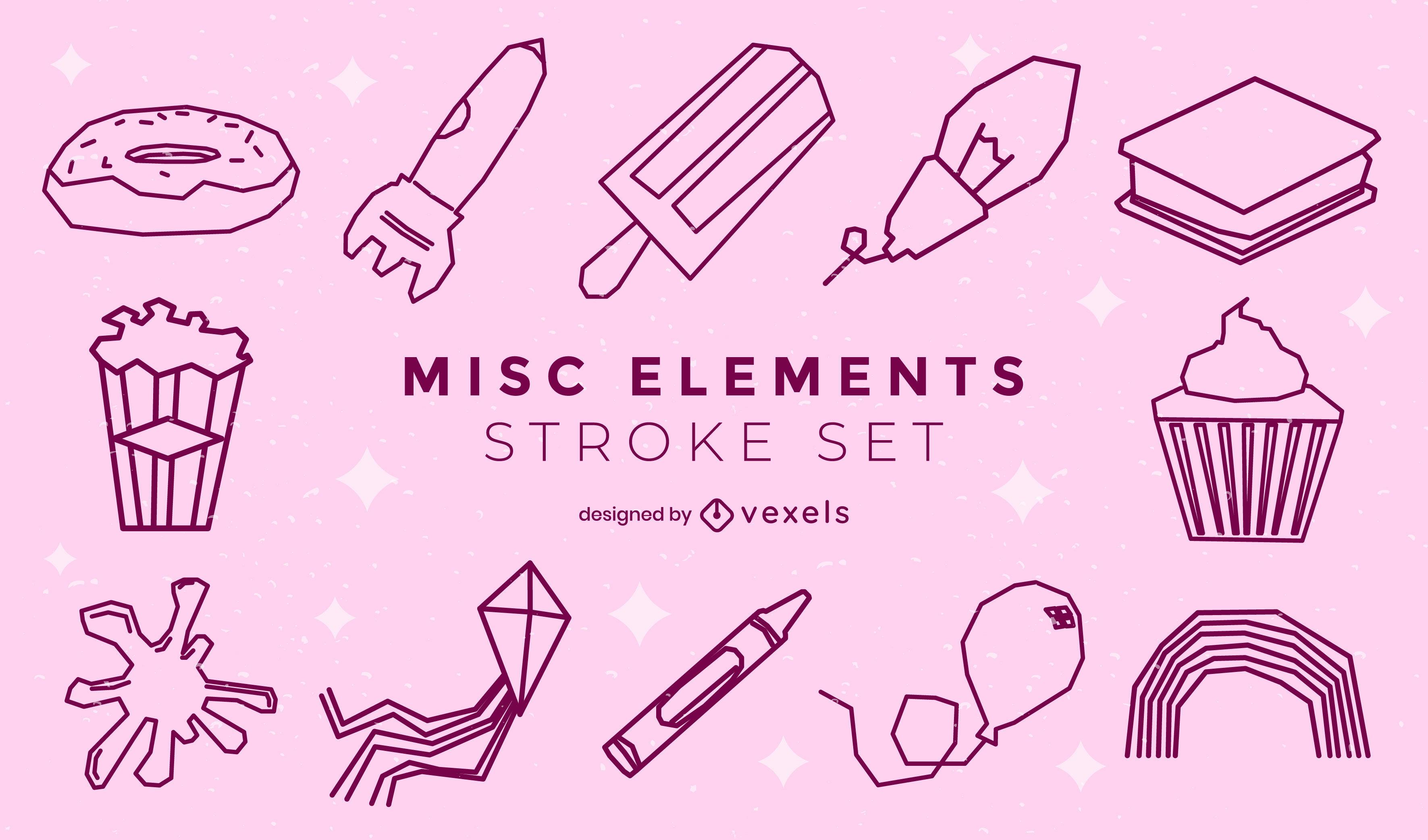 Conjunto de trazos de elementos misceláneos