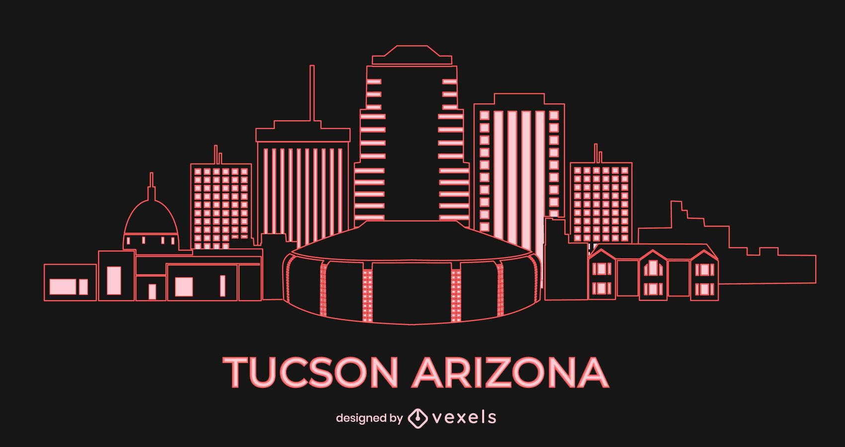 Skyline tucson arizona city buildings stroke