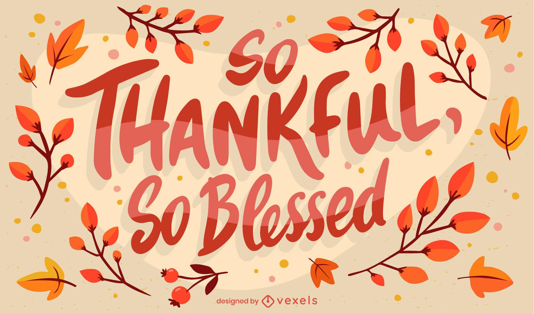 Diseño de letras de cita agradecida de acción de gracias