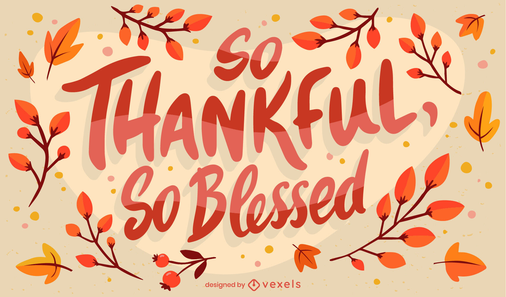 Thanksgiving thankful quote lettering design