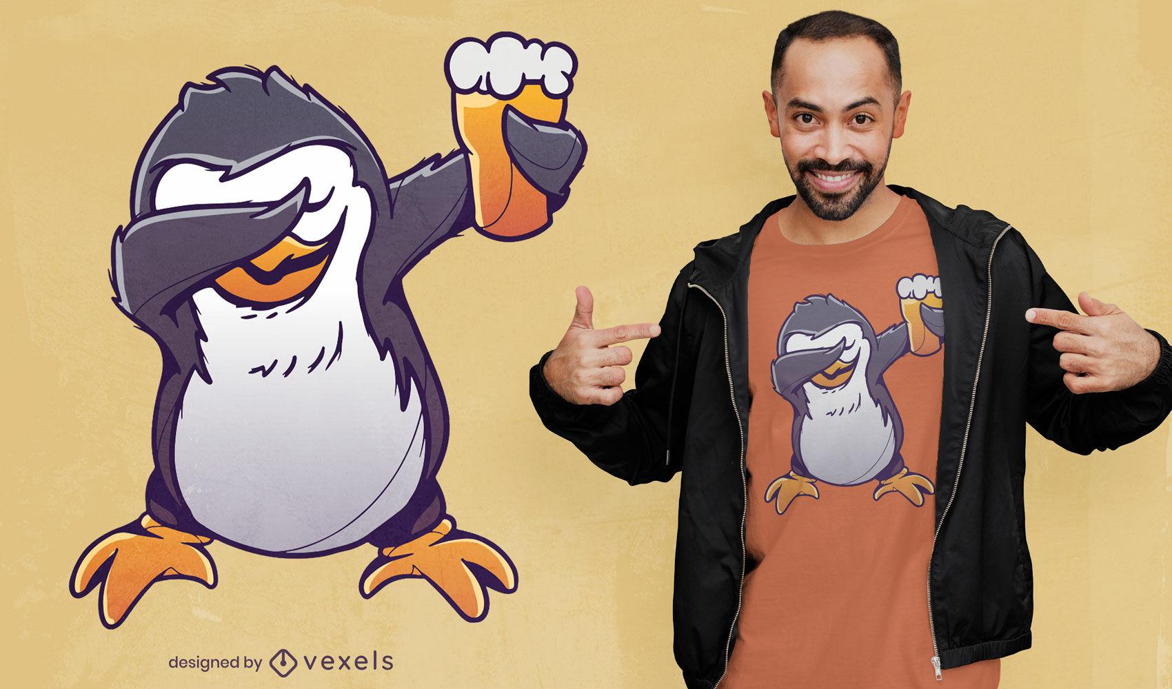 Dabbing design de t-shirt de pinguim de cerveja