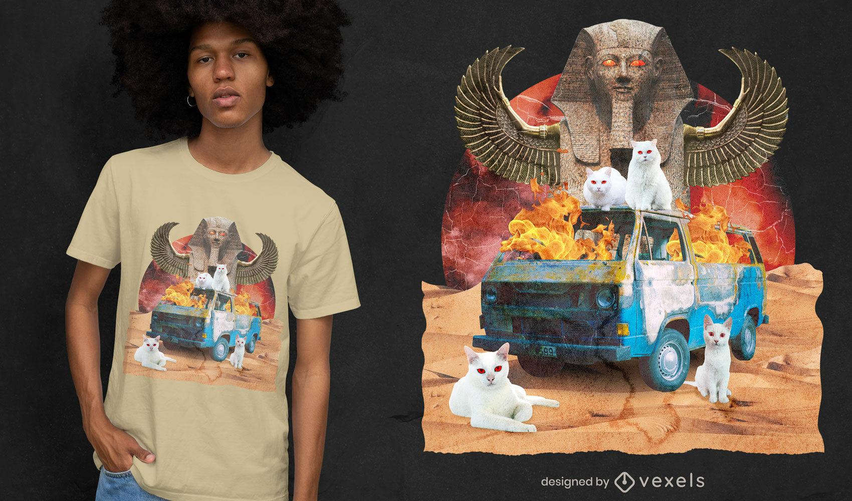 Camiseta del monumento de egipto del collage del caos del gato psd