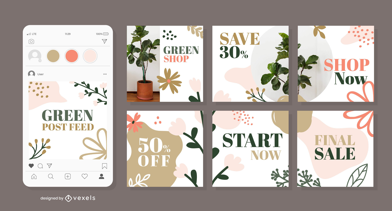 Paquete de diseño de redes sociales de naturaleza botánica