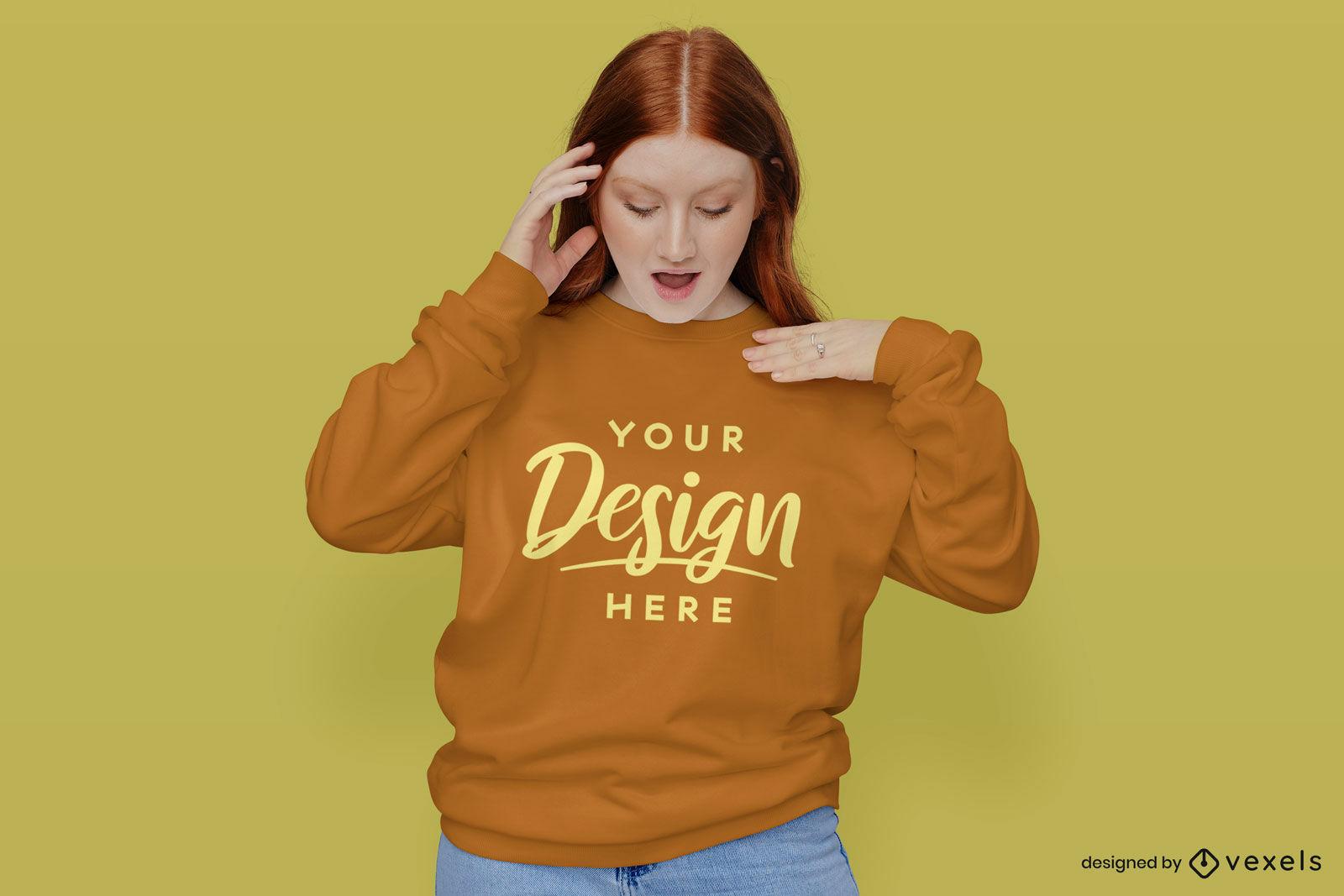 Girl in orange sweatshirt yellow background mockup