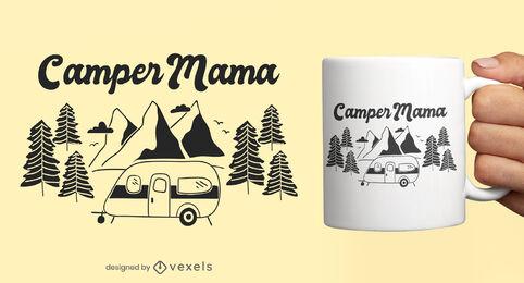 Diseño de la taza del doodle de la naturaleza de la furgoneta que acampa