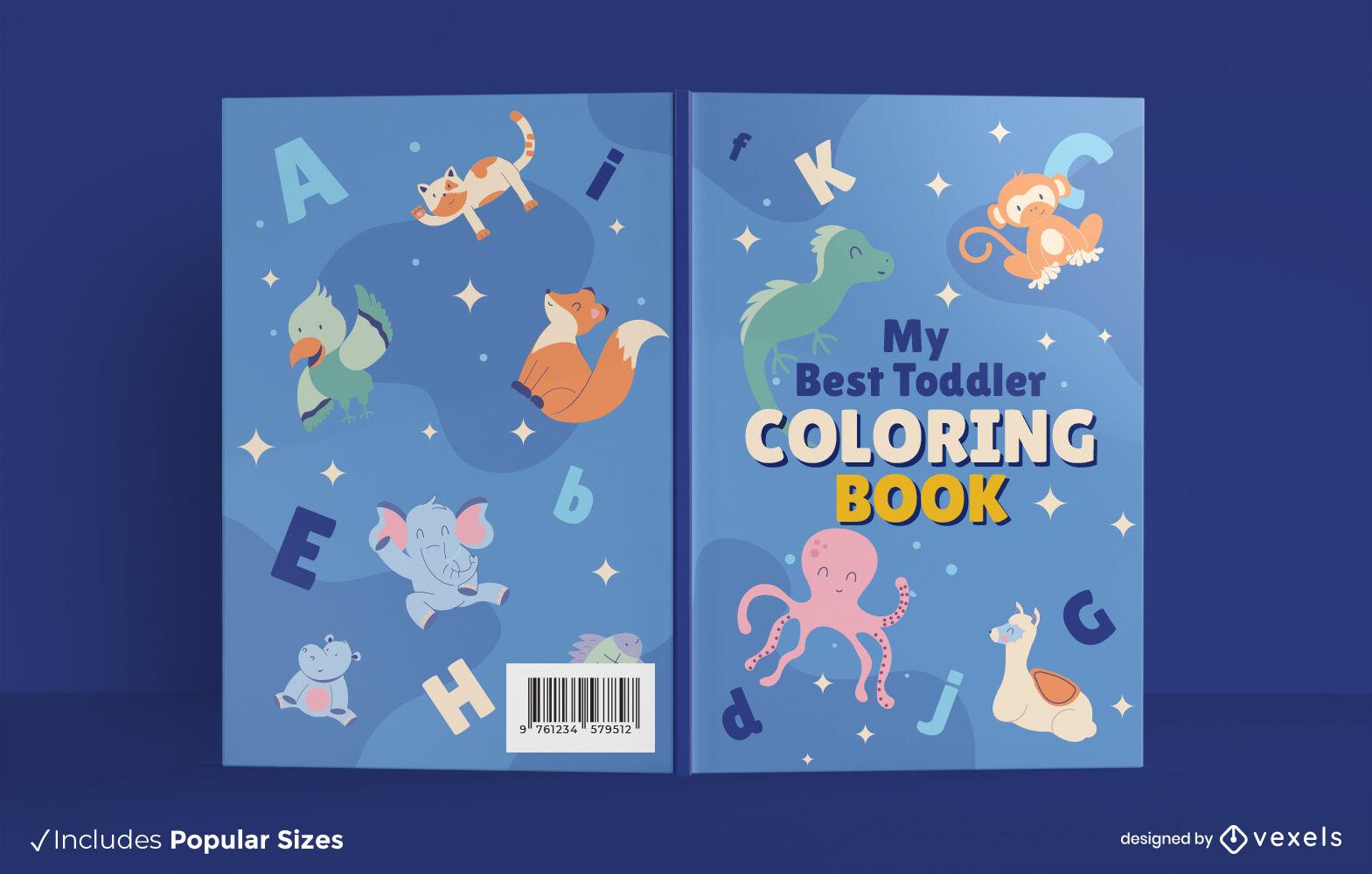 Dise?o de portada de libro para colorear de animales lindos