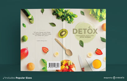 Detox vegetable and fruit juice book cover design