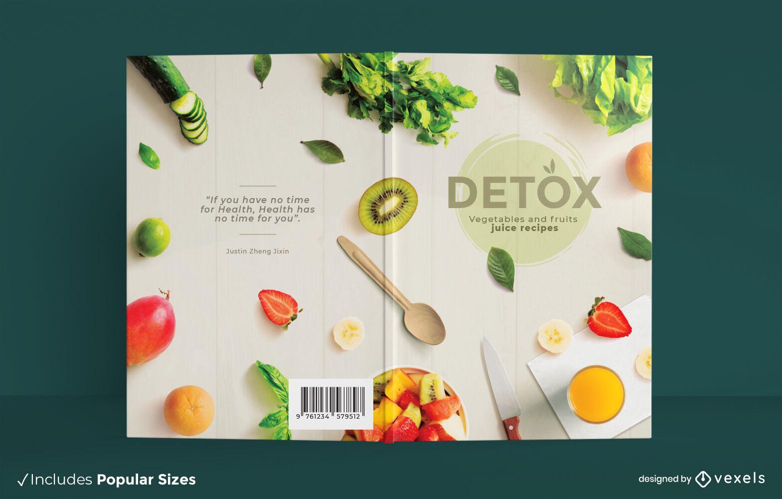 Diseño de portada de libro de jugo de frutas y verduras detox