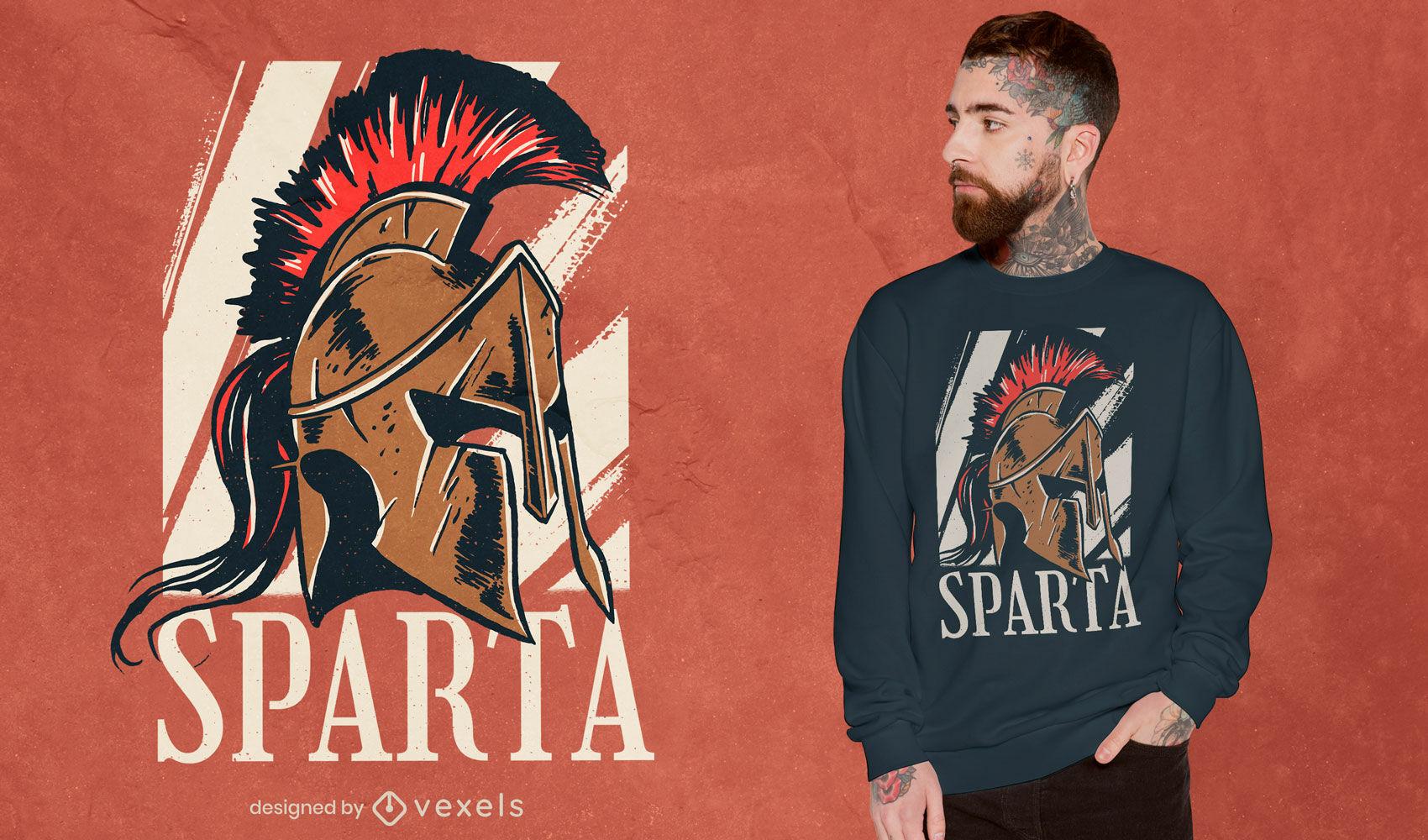 Diseño de camiseta histórica de casco espartano.