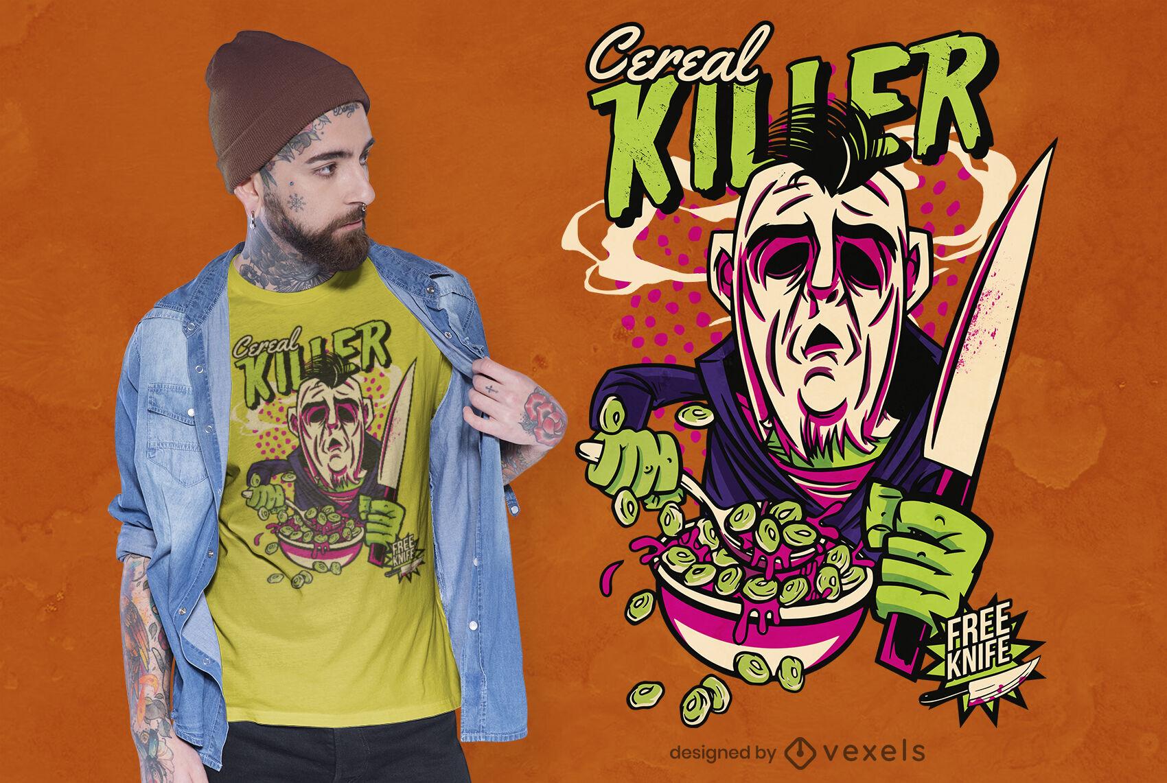 Dise?o de camiseta de juego de palabras de cereal asesino en serie