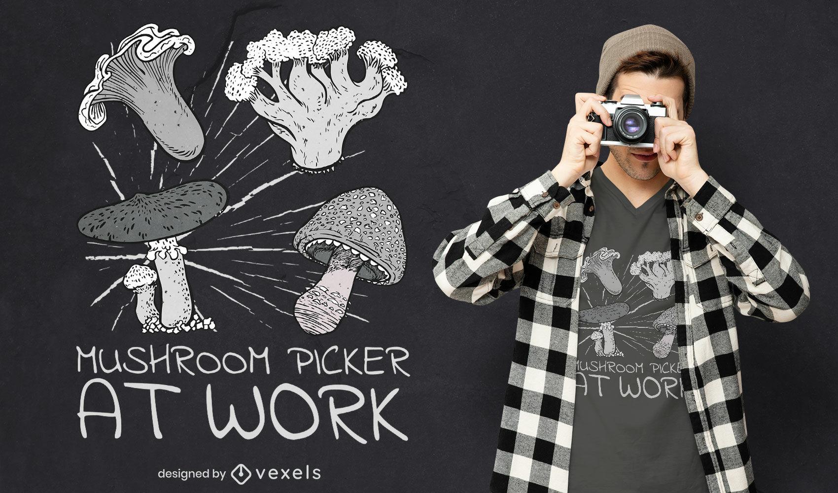 Design de camiseta para colheita de cogumelos