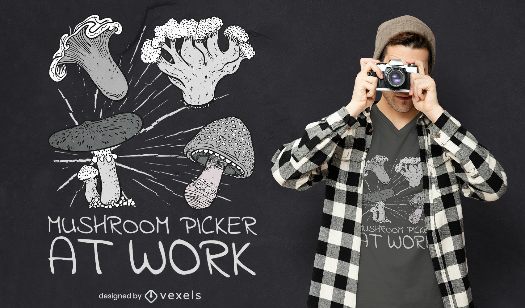 Diseño de camiseta con cita de recolección de setas.