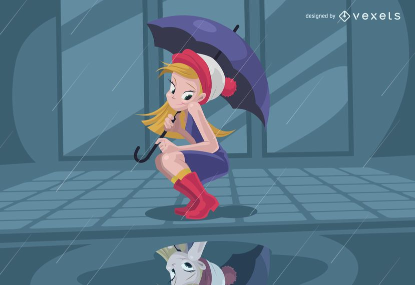 Mädchen, das Reflexion auf Regen betrachtet