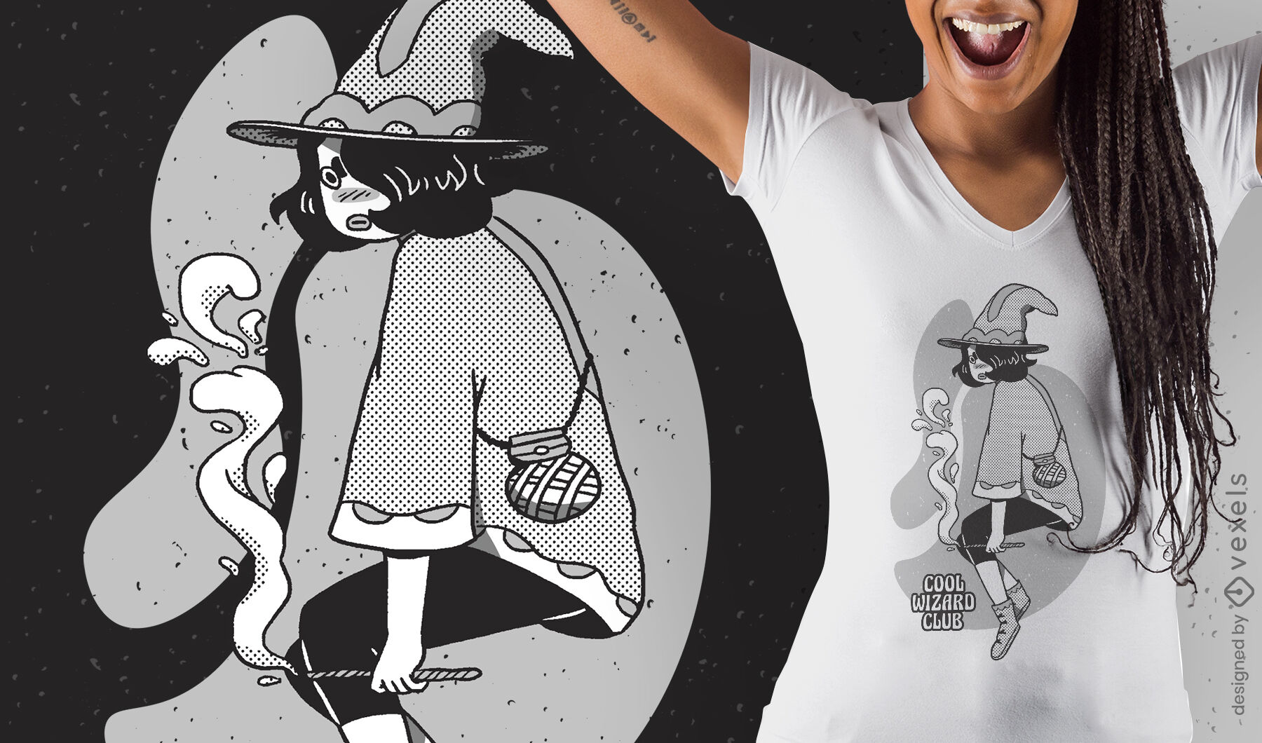 Diseño de camiseta de fantasía de niña mago de dibujos animados