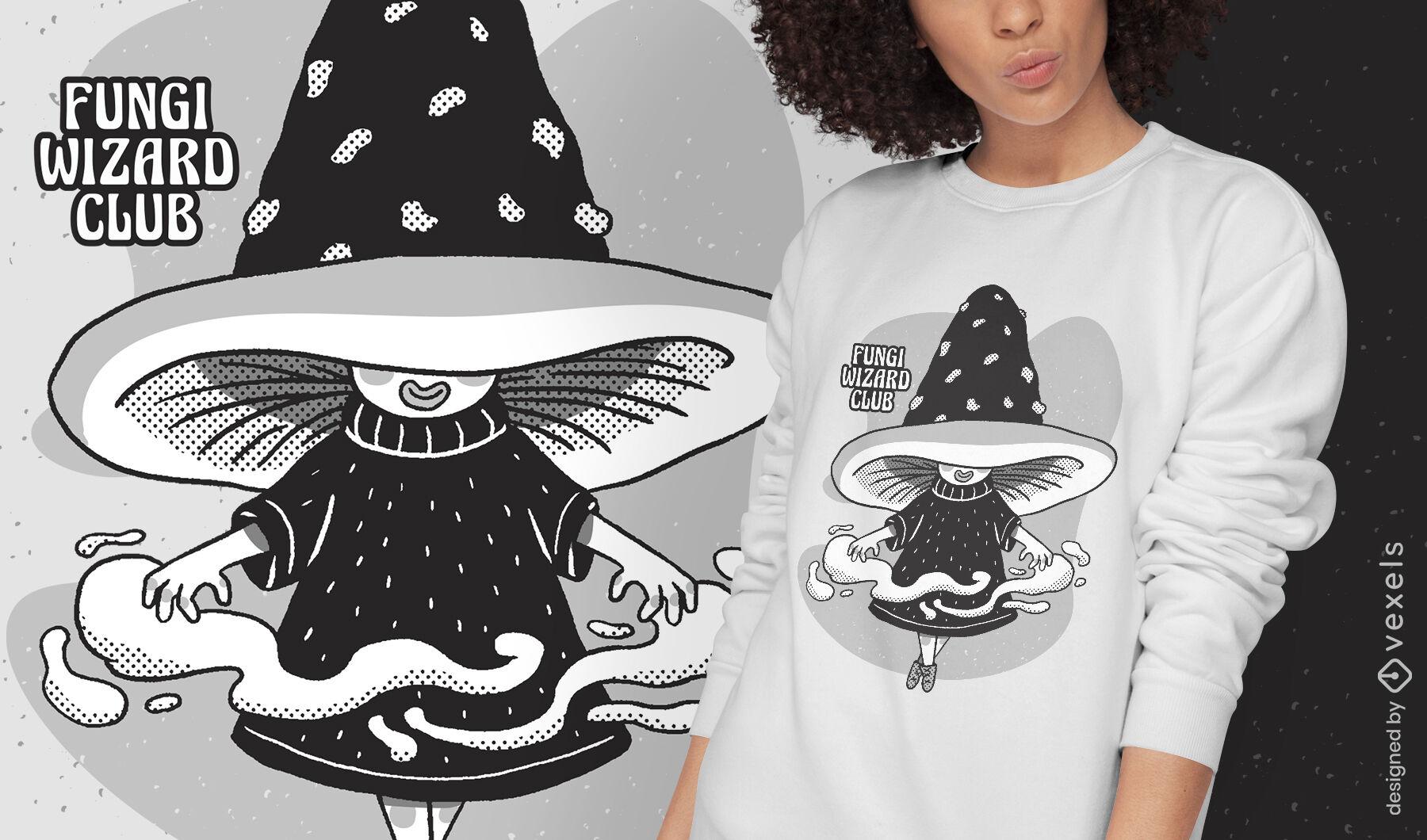 Dise?o de camiseta de fantas?a de mago de dibujos animados de hongos
