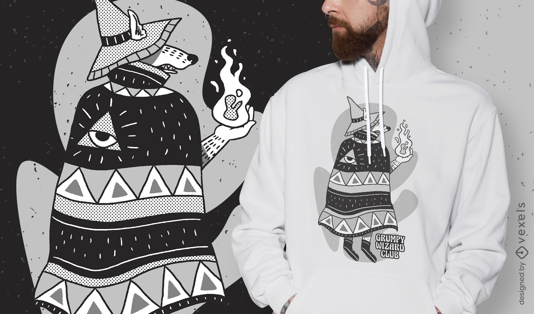 Cartoon wizard wolf fantasy t-shirt design