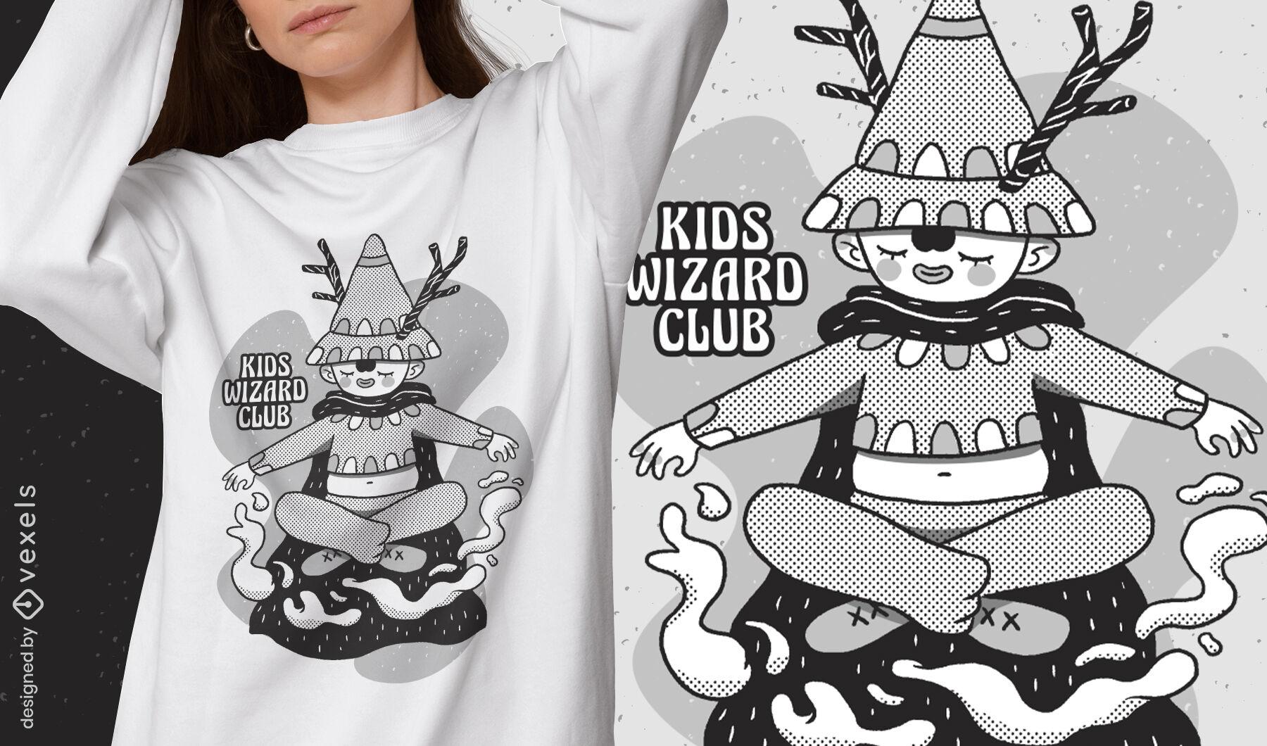 Cartoon wizard kid fantasy t-shirt design