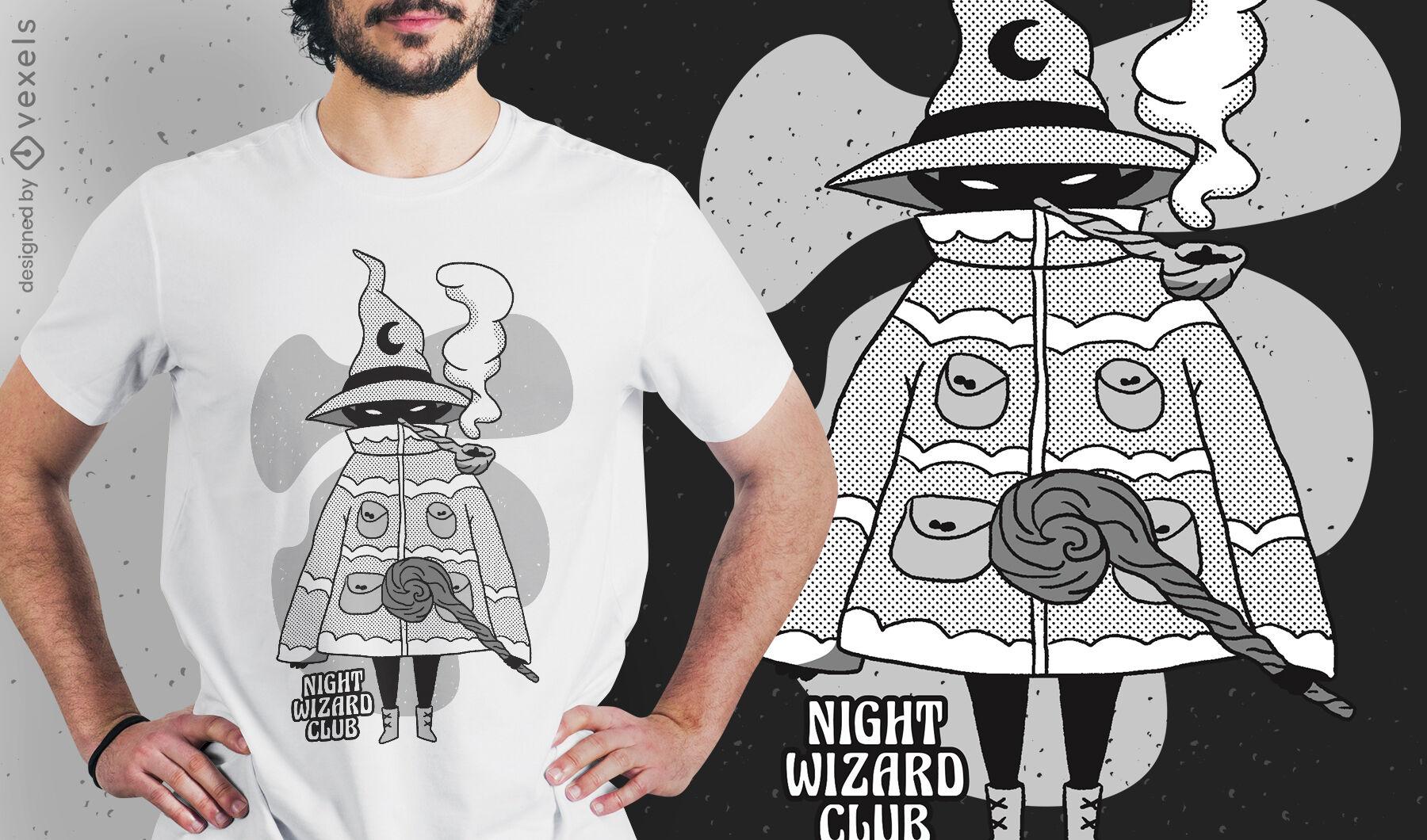 Diseño de camiseta de fantasía de mago de dibujos animados malvados