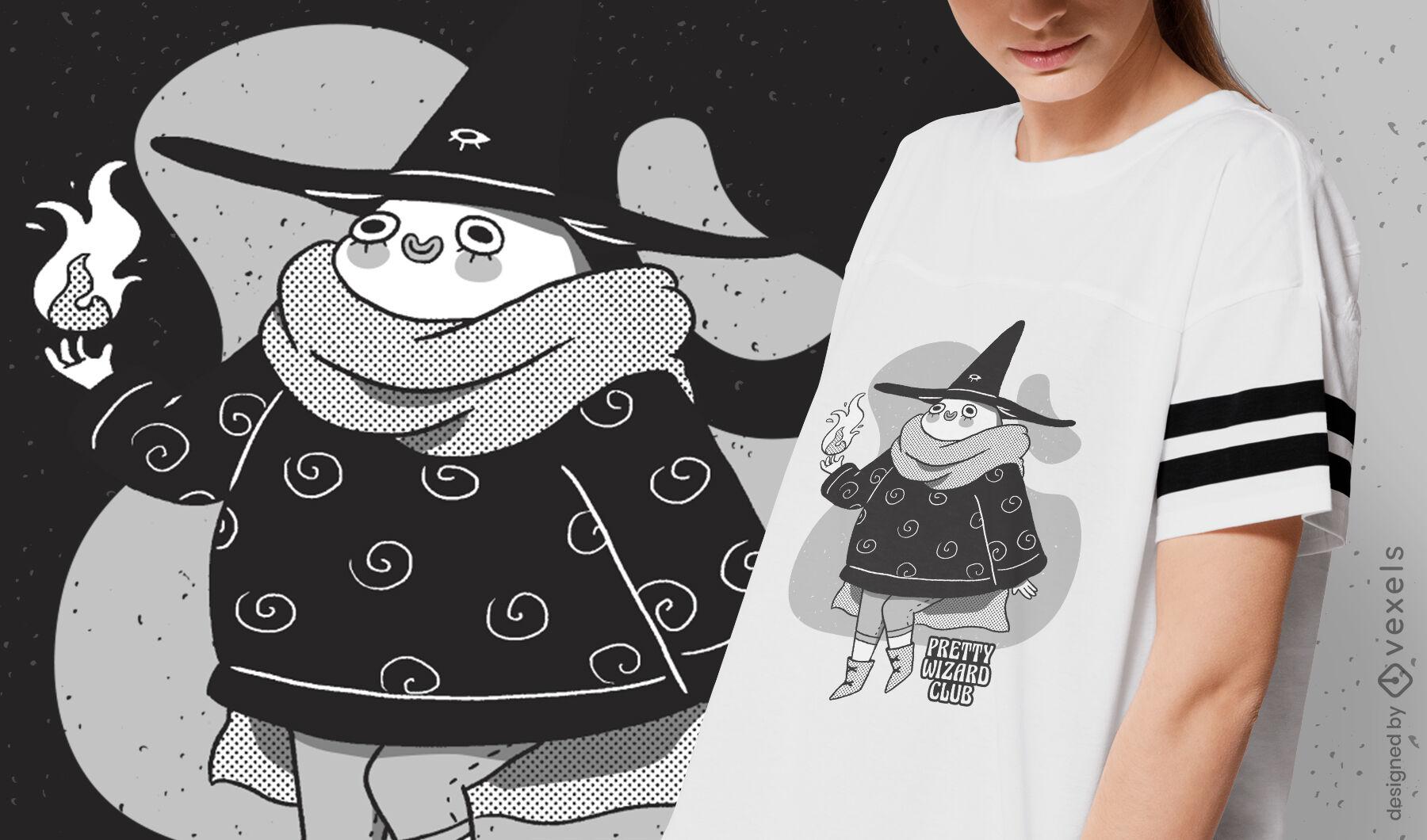 Happy cartoon wizard fantasy t-shirt design