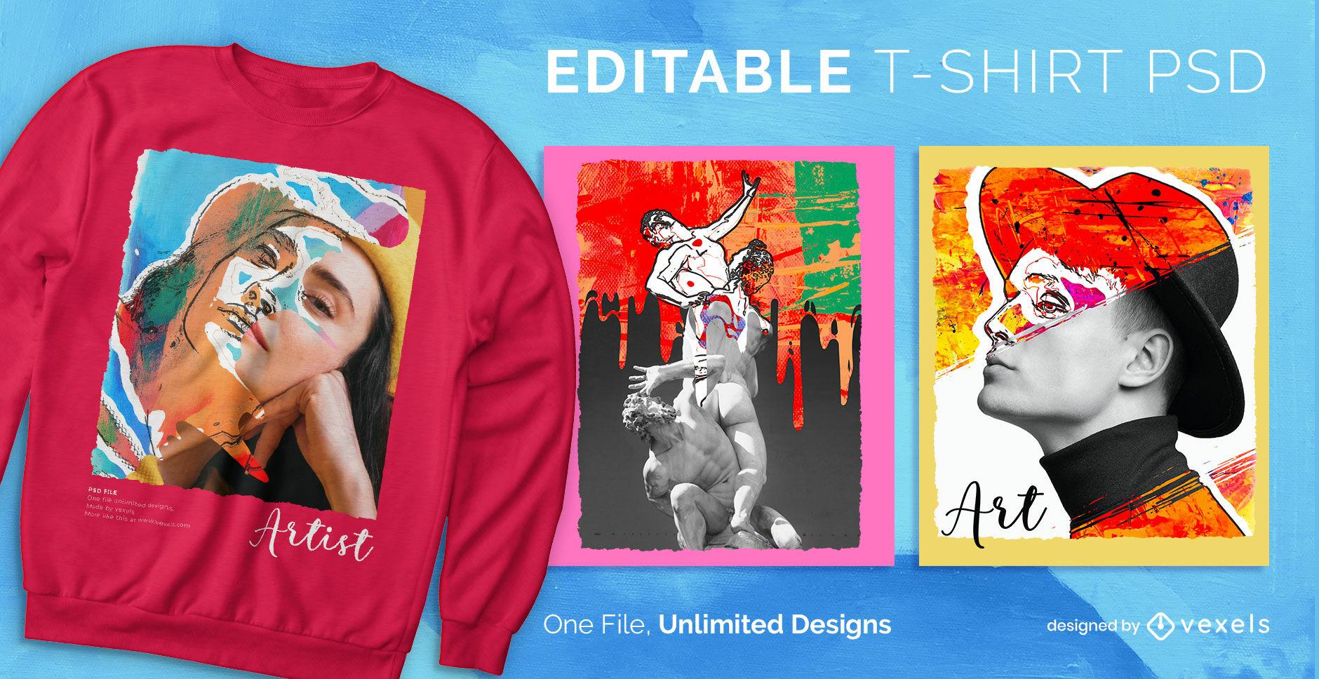 Diseño de camiseta psd con efecto de fotografía y pintura.