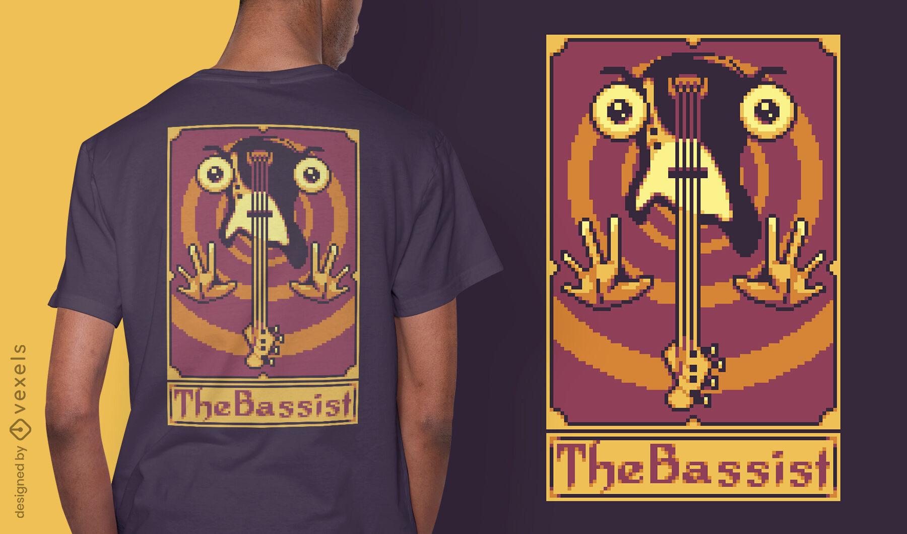 Diseño de camiseta de guitarra de pixel tarot card
