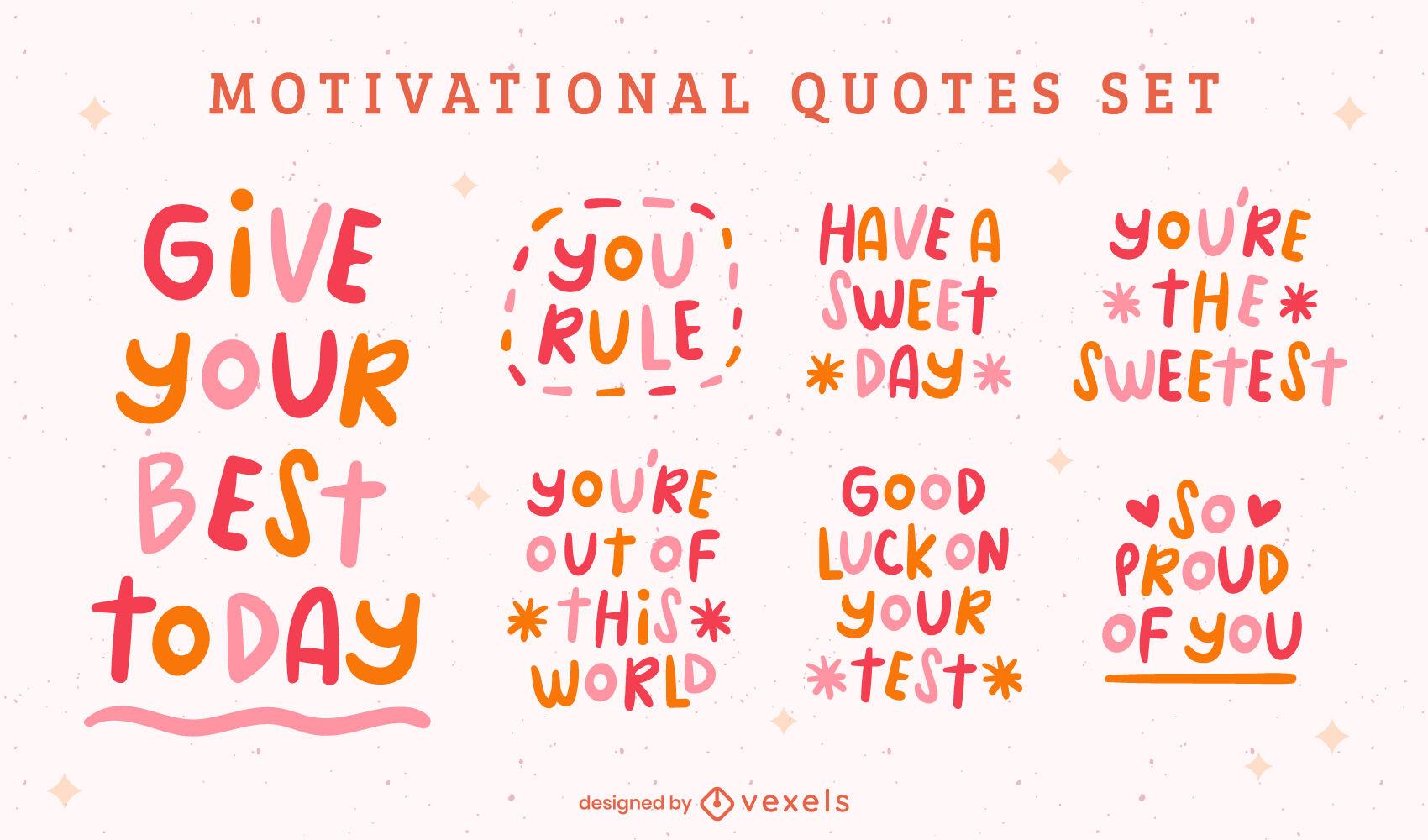 Conjunto de citas de doodle motivacionales amables