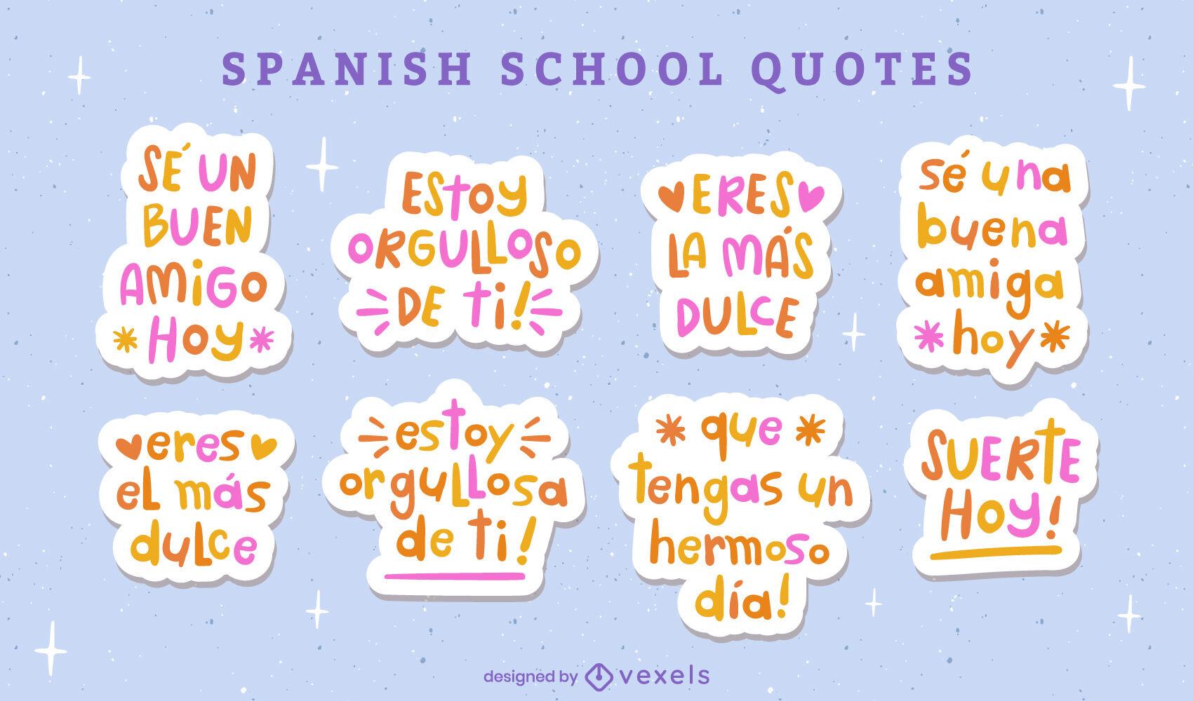 Lindo niño doodle set de pegatinas de citas en español