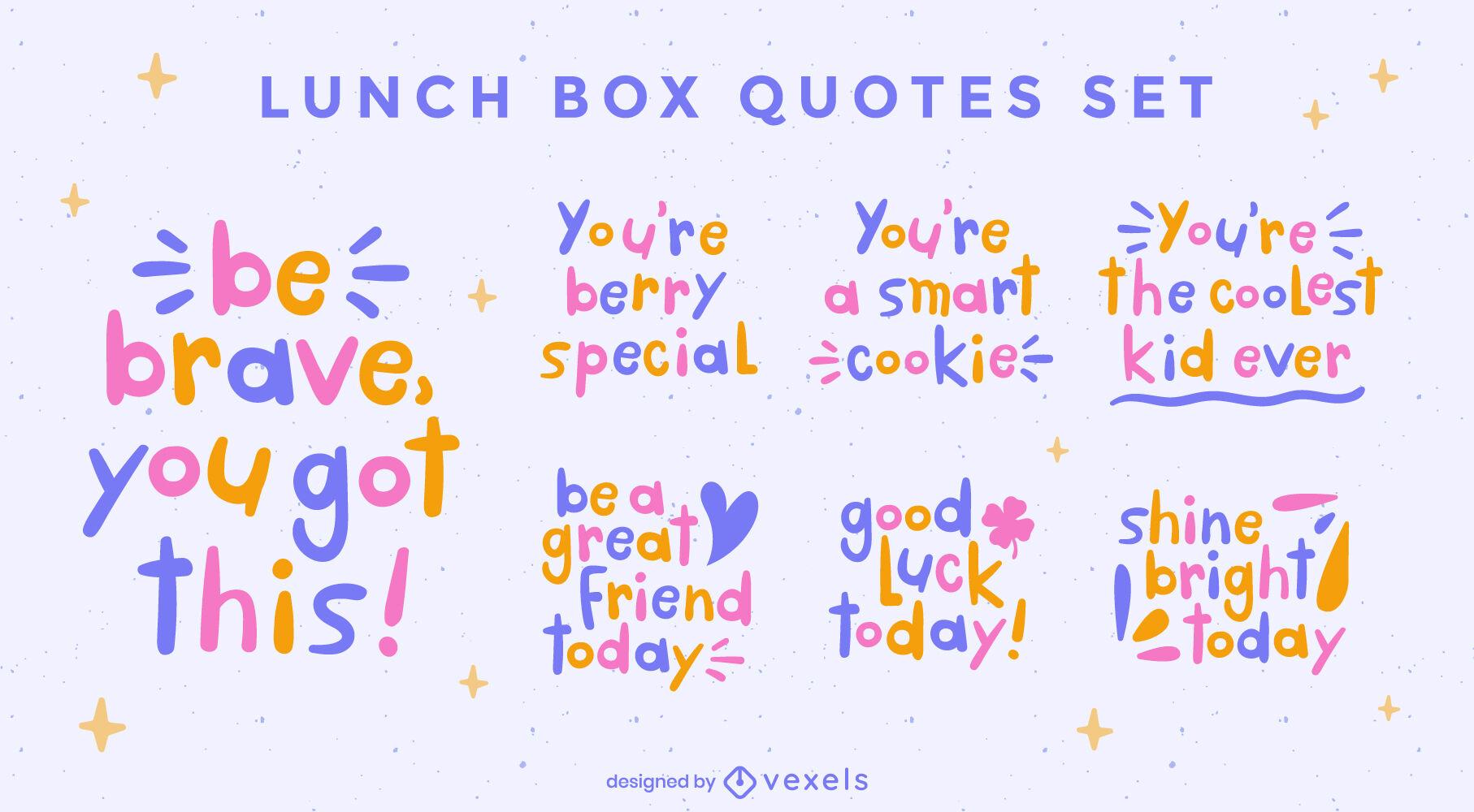 Nice kid doodle quotes set