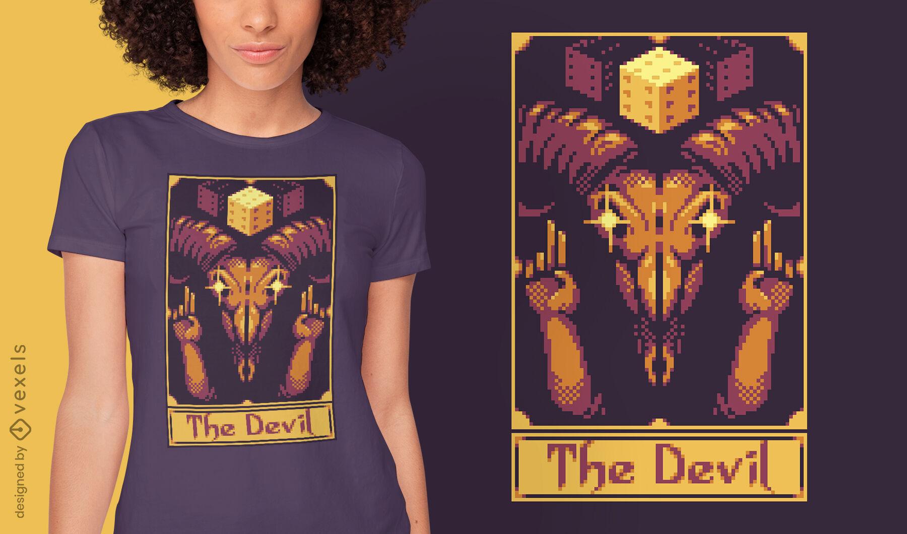 Pixel tarot card devil t-shirt design