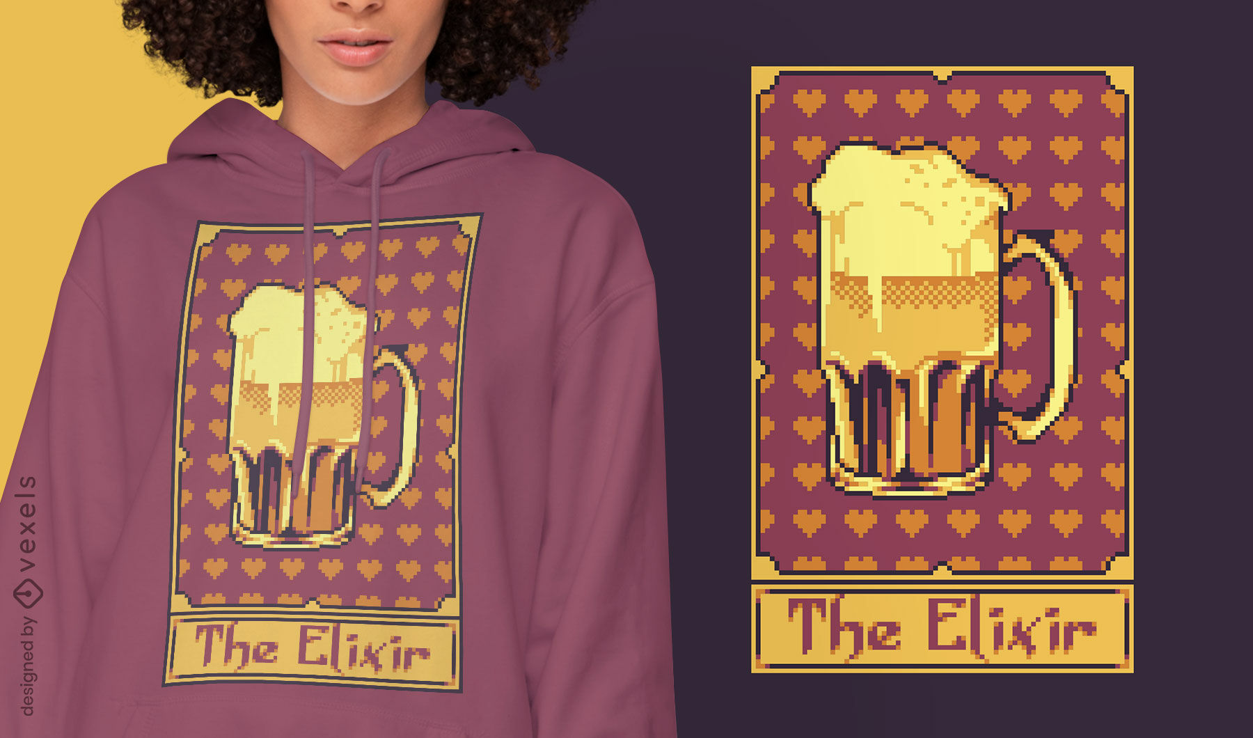 Pixel tarot card beer drink t-shirt design