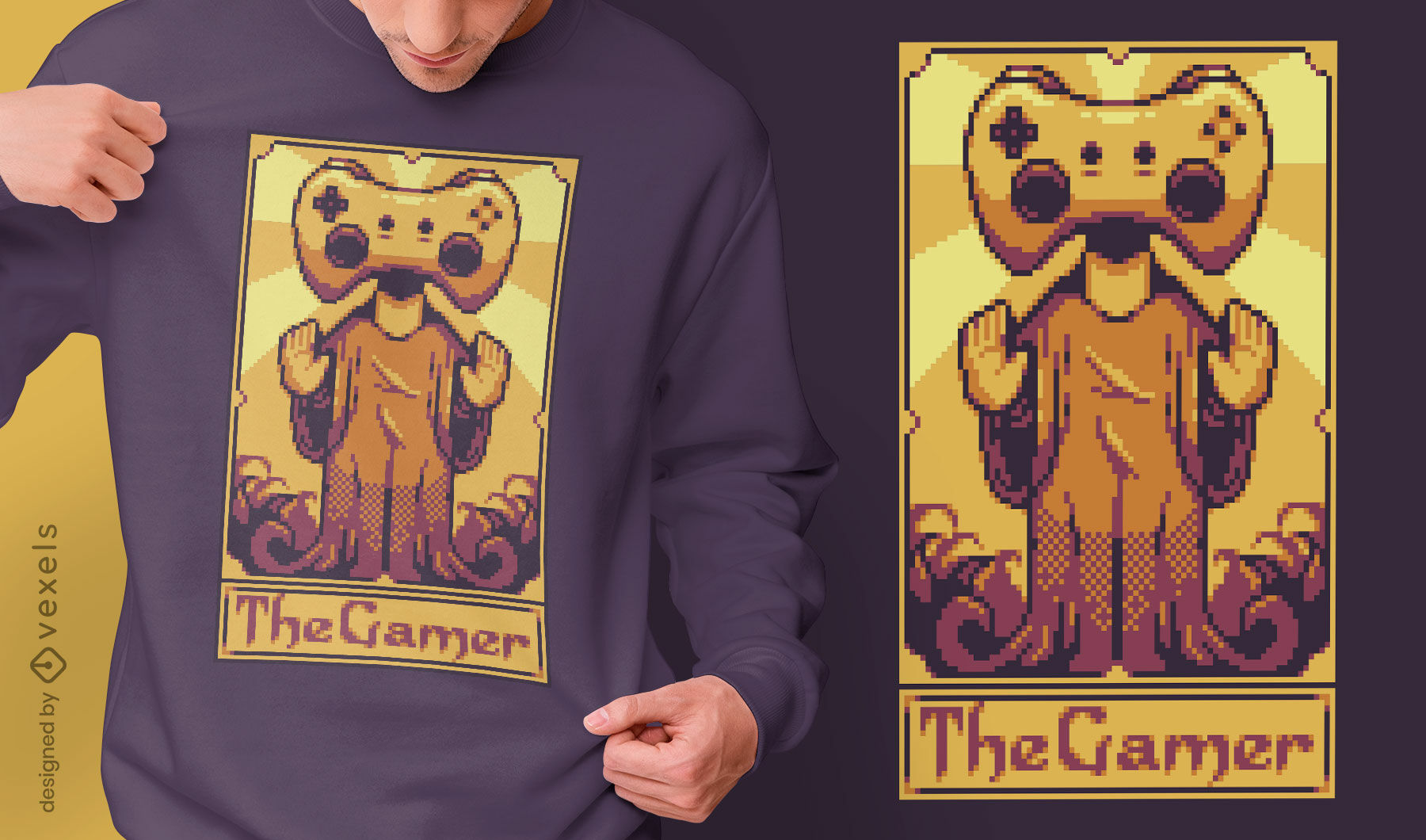 Diseño de camiseta de jugador de joystick de tarjeta de tarot de píxeles
