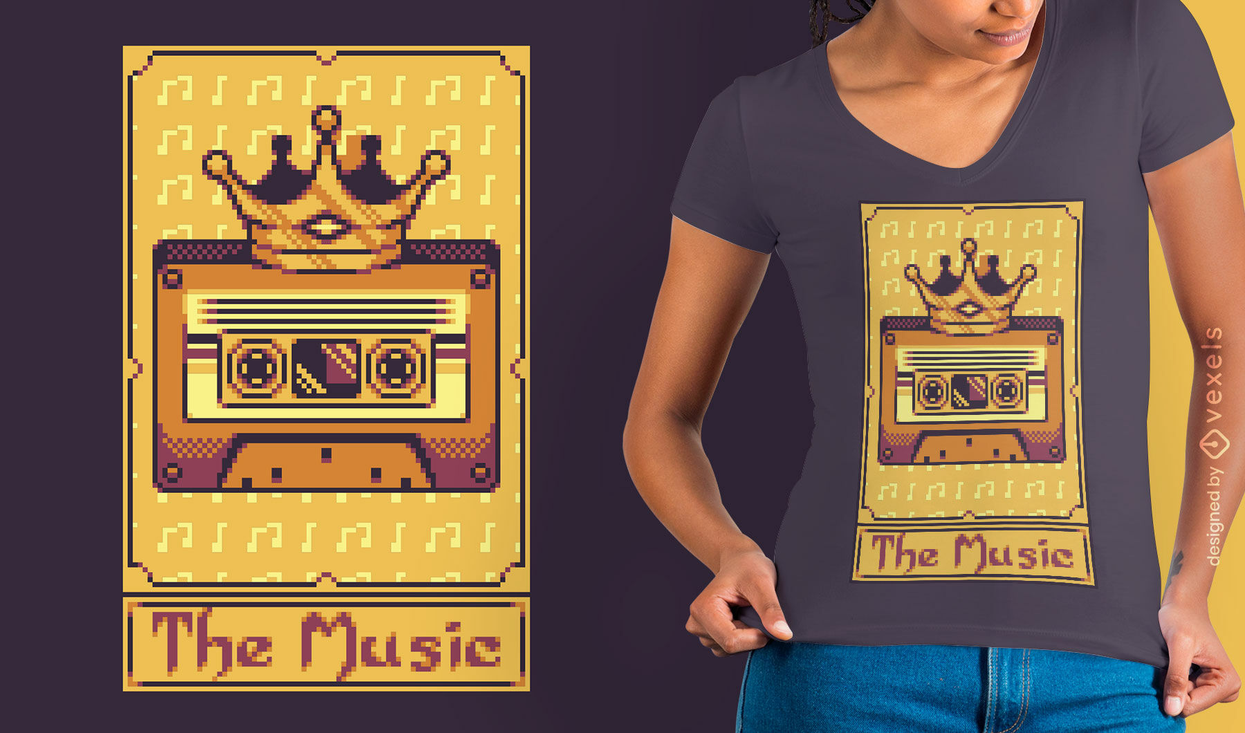 Dise?o de camiseta de cassette de m?sica de tarjeta de tarot de p?xeles