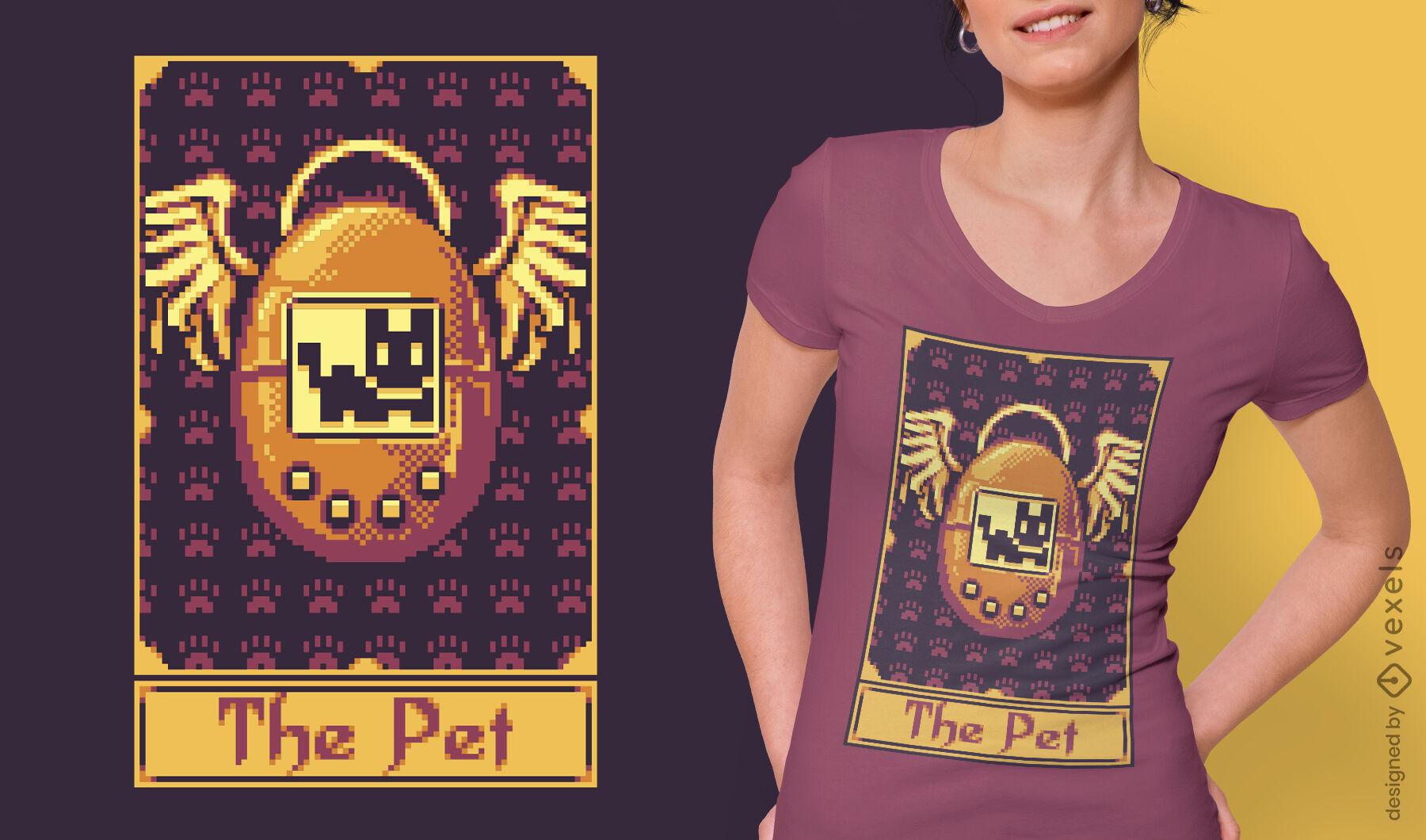 Diseño de camiseta de juego retro pixel tarot card