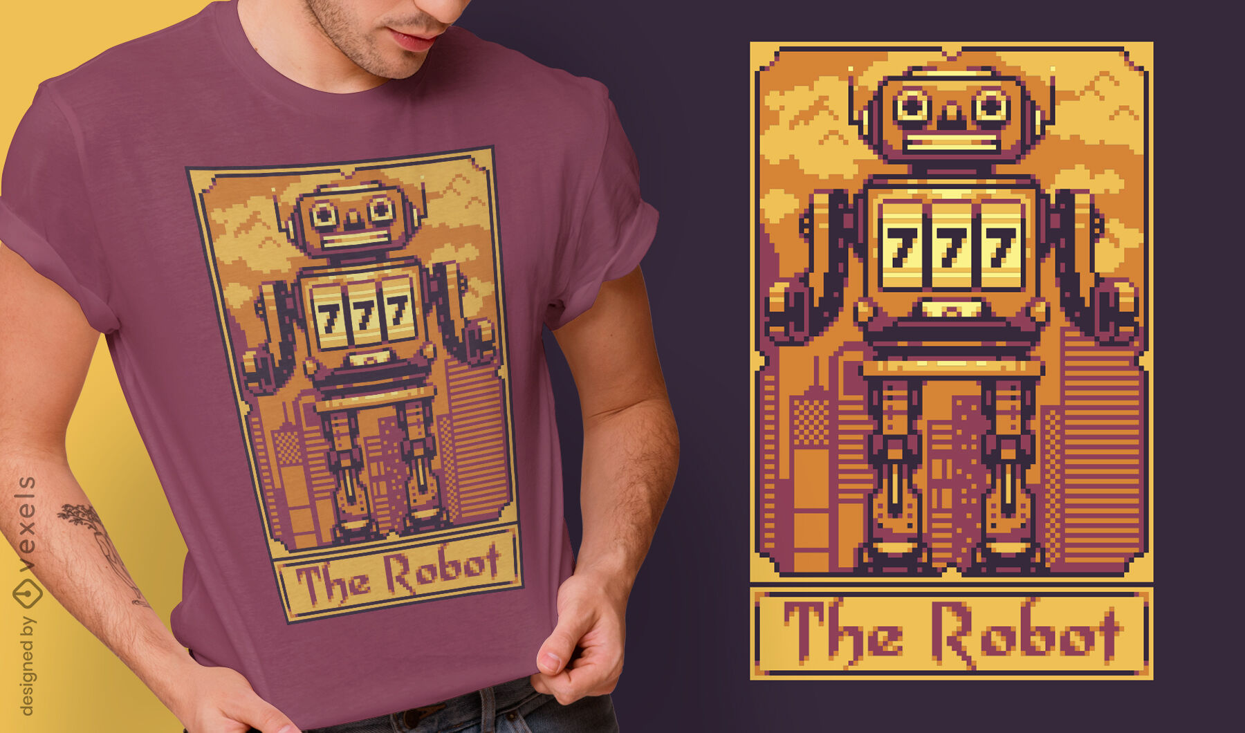 Diseño de camiseta de robot de cartas de tarot de píxeles