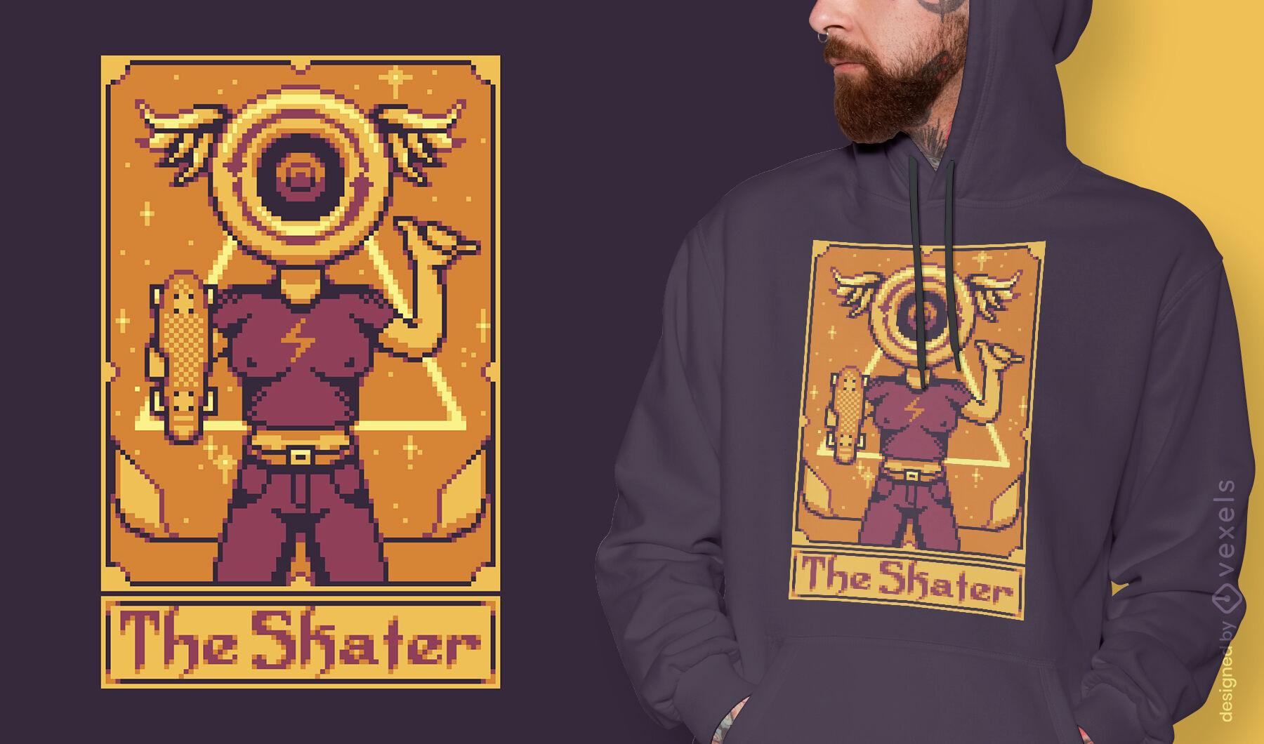 Pixel-Tarot-Karten-Skater-T-Shirt-Design