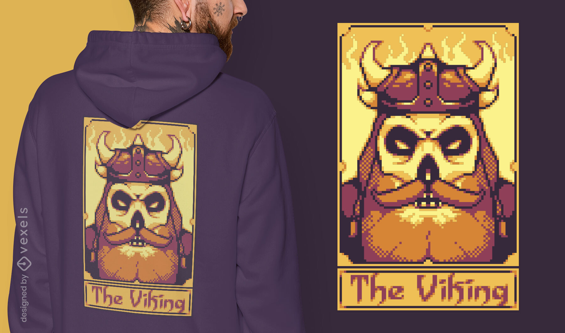 Pixel tarot card viking t-shirt design