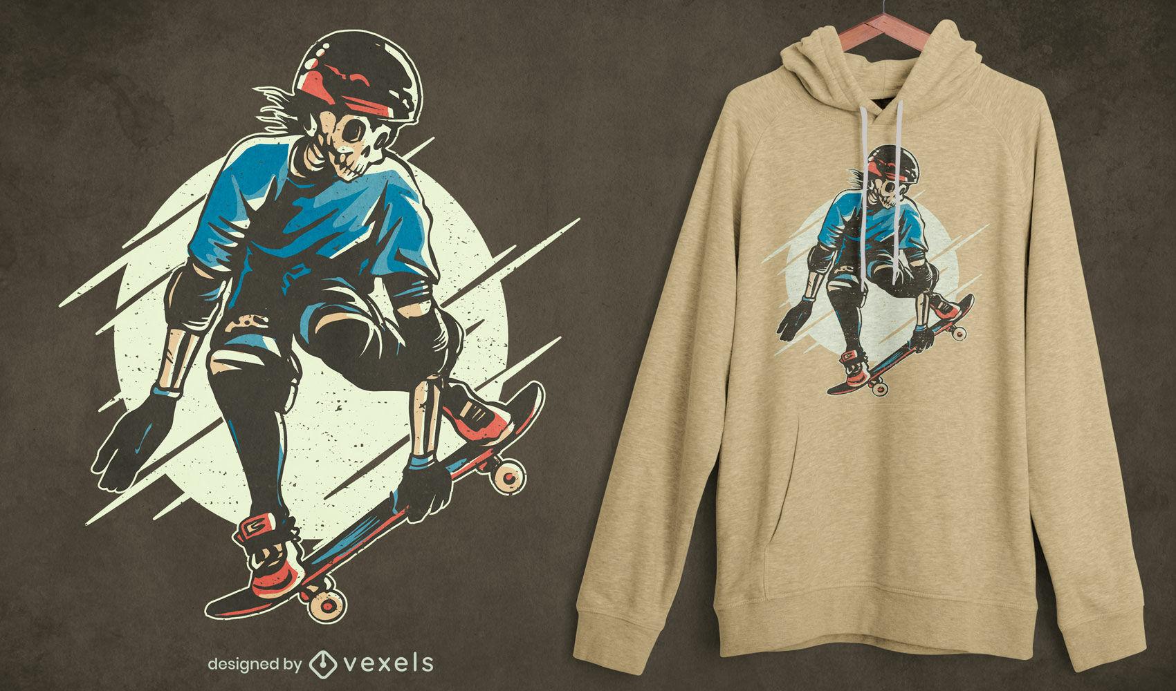 Diseño de camiseta de personaje de esqueleto patinador.