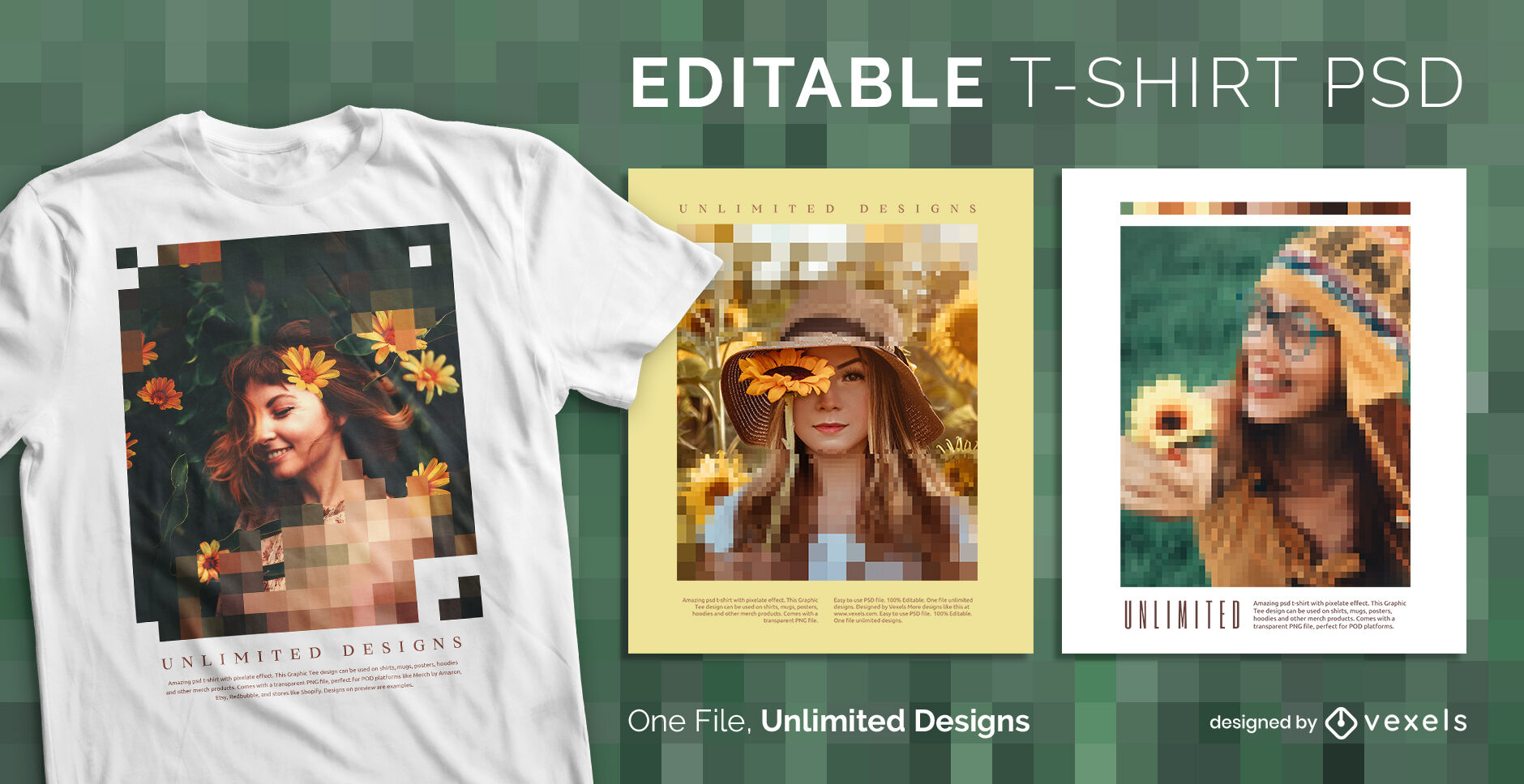 Pixels over image editable psd t-shirt