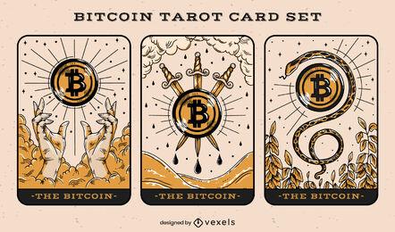 Bitcoin tarot cards illustration set