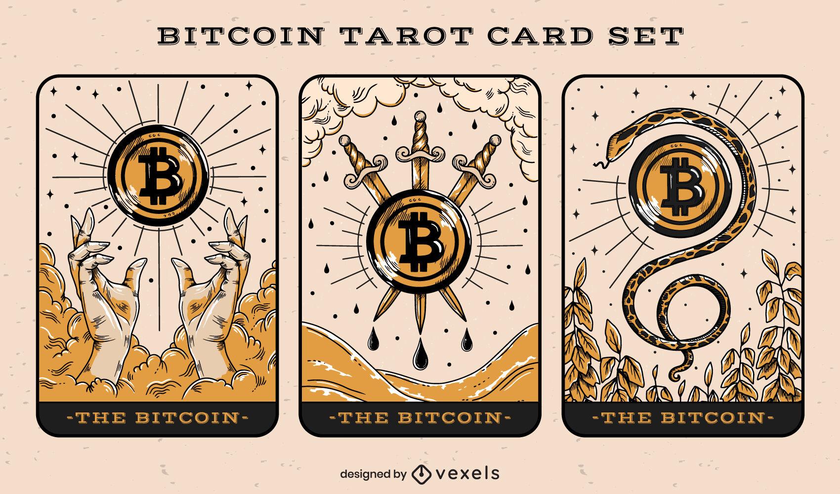 Conjunto de ilustração de cartas de tarô Bitcoin